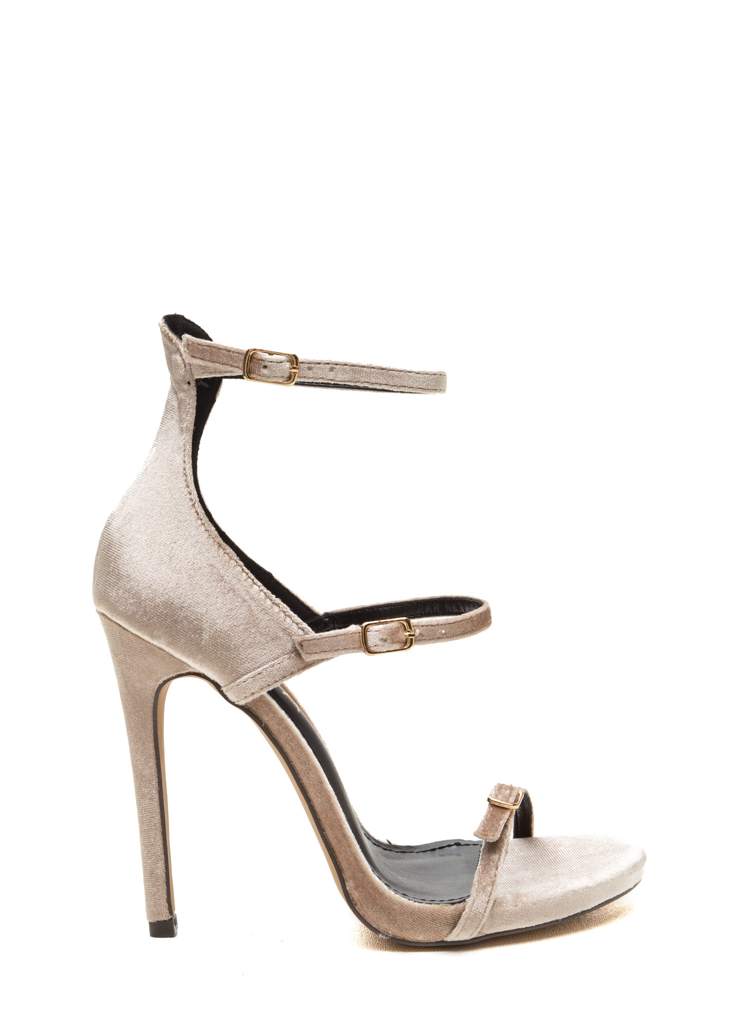 Luxurious Touch Strappy Velvet Heels NUDE