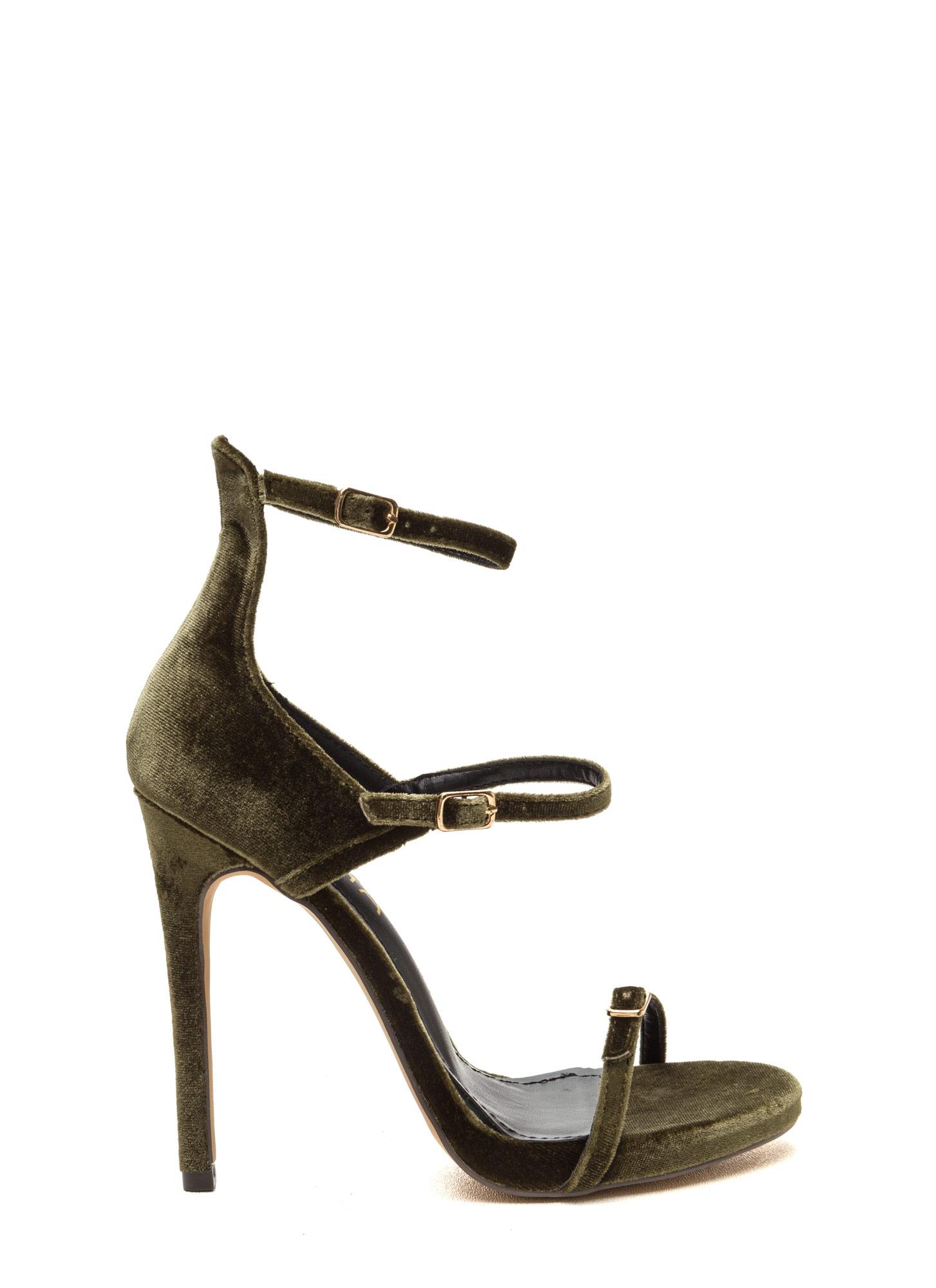 Luxurious Touch Strappy Velvet Heels OLIVE
