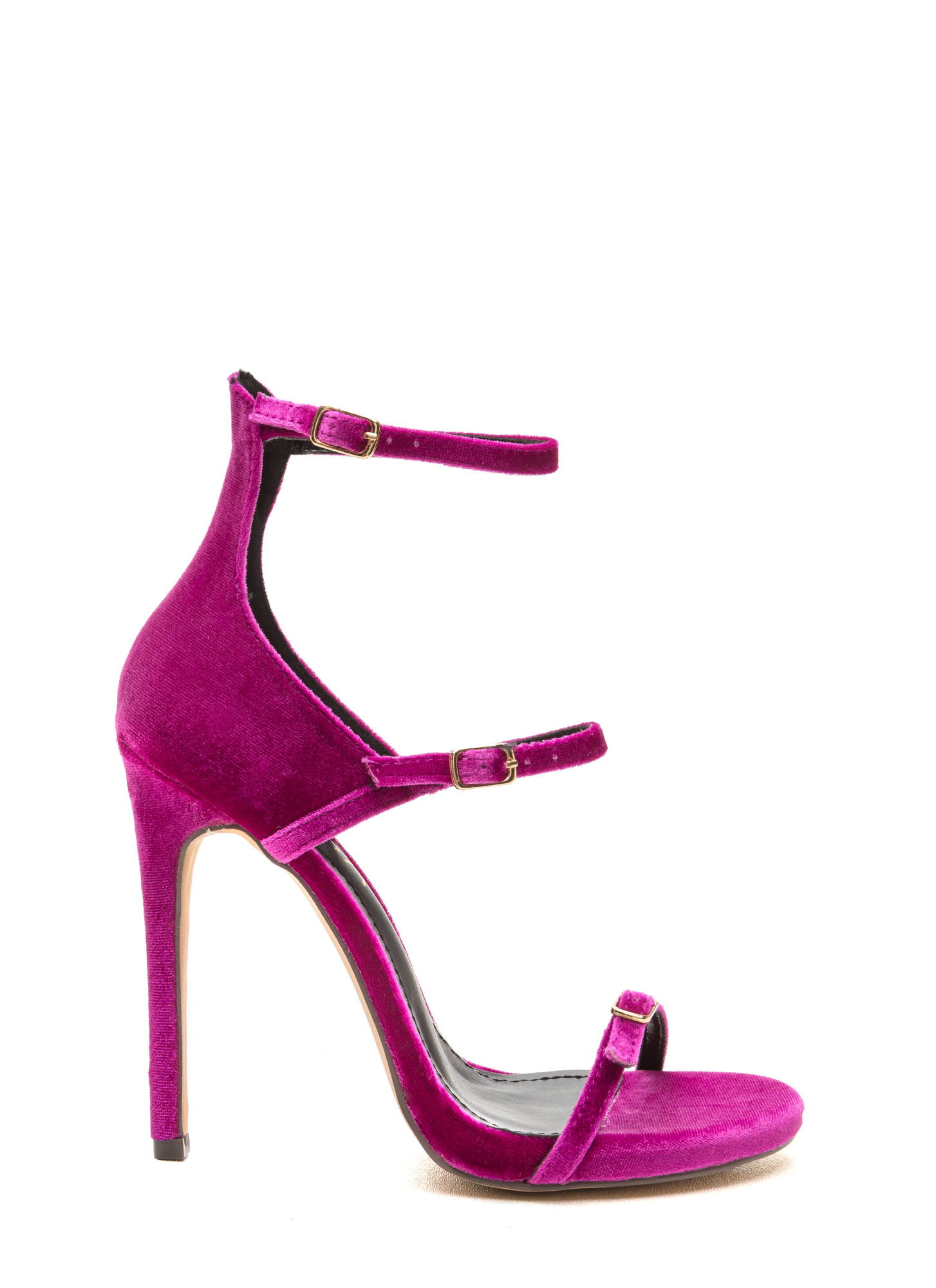 Luxurious Touch Strappy Velvet Heels PURPLE