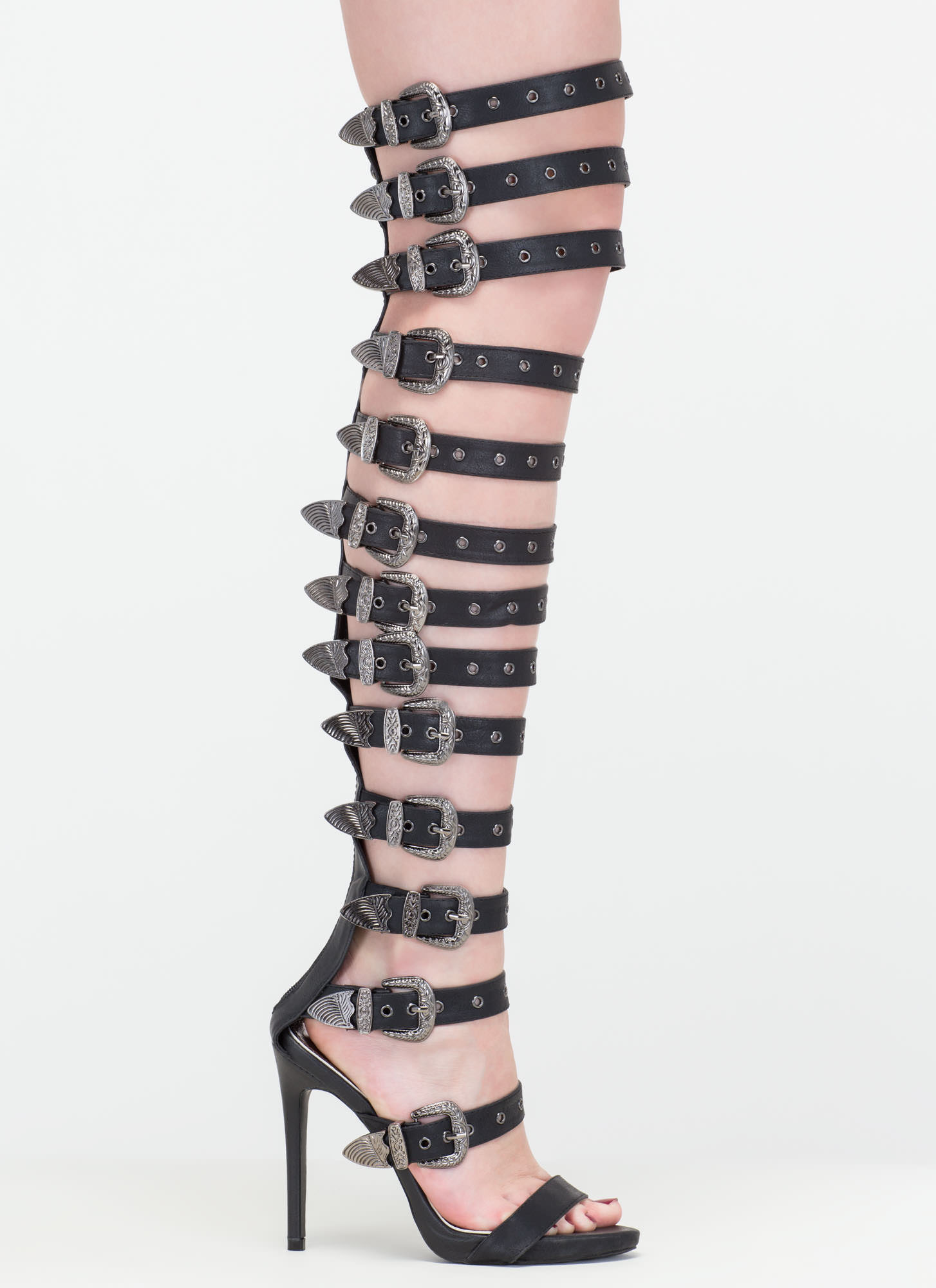 Out West Strappy Buckled Gladiator Heels BLACK