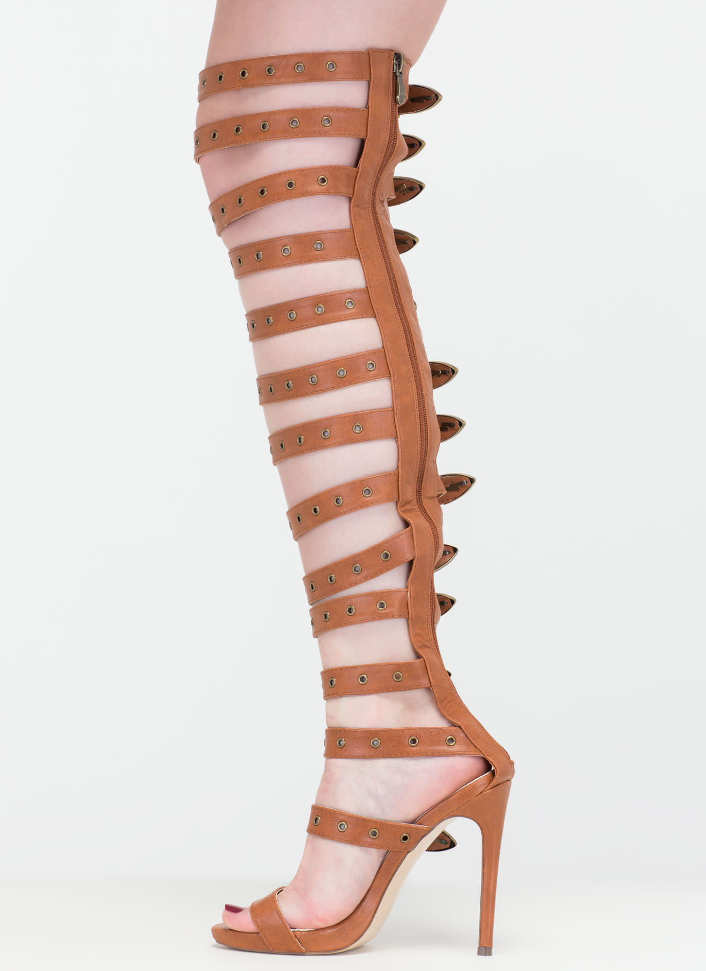 Out West Strappy Buckled Gladiator Heels COGNAC