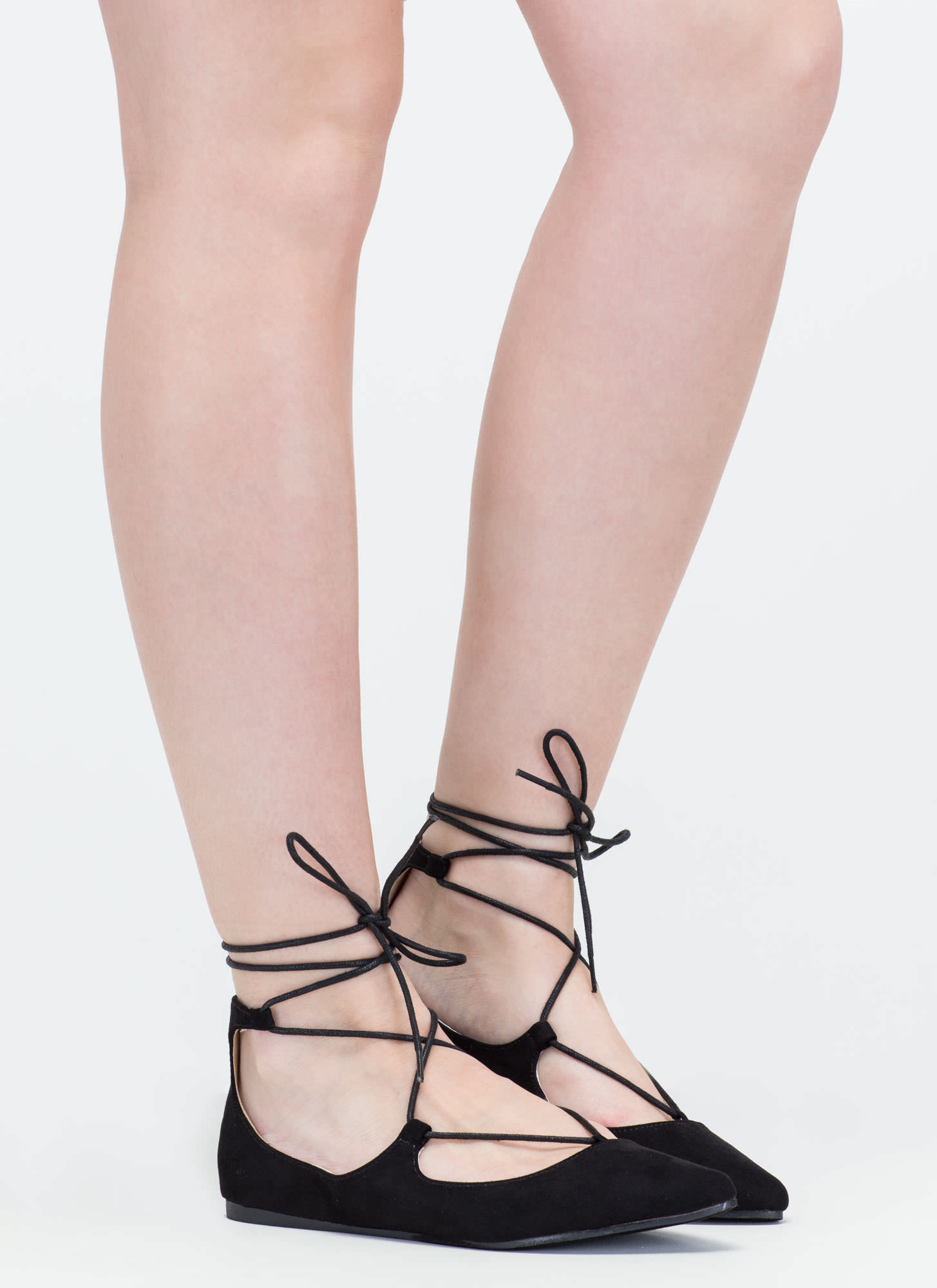 Perfect Pick Pointy Lace-Up Flats BLACK