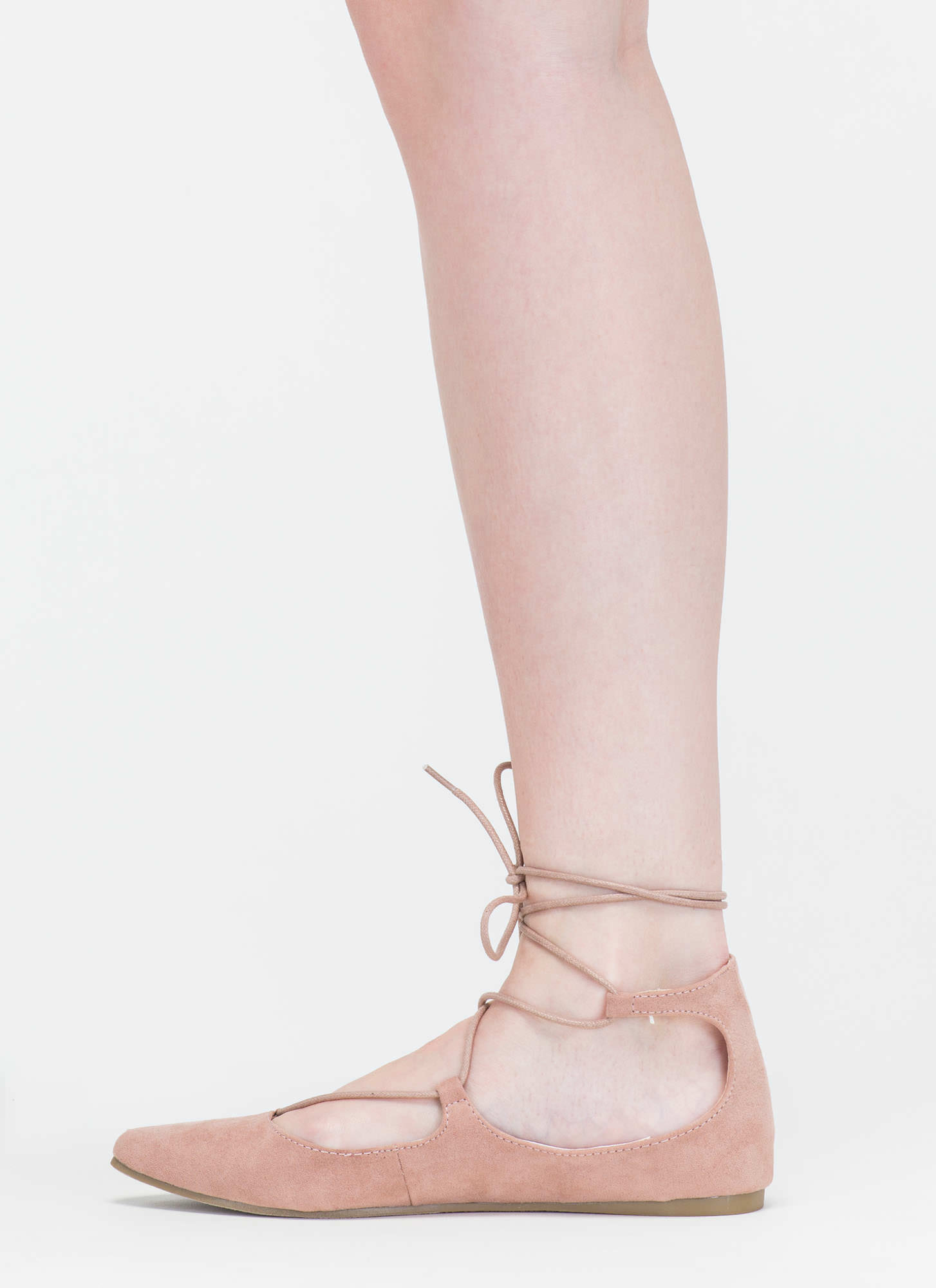 Perfect Pick Pointy Lace-Up Flats MAUVE