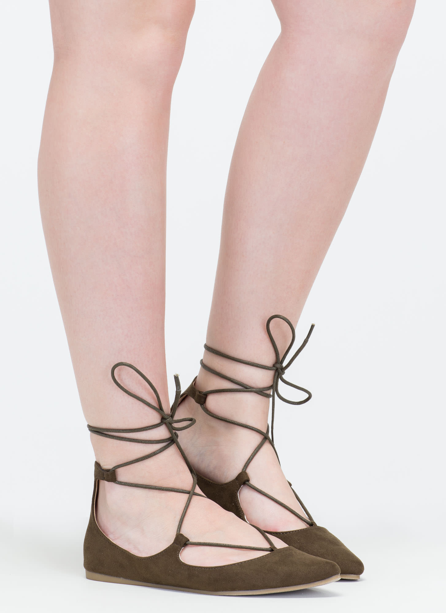 Perfect Pick Pointy Lace-Up Flats OLIVE