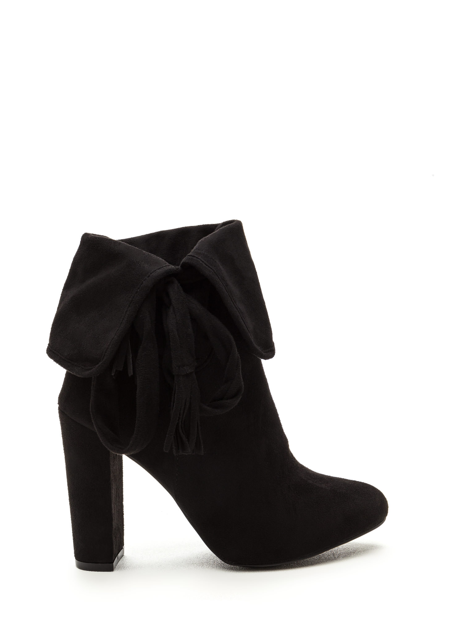 Bold Personality Faux Suede Booties BLACK