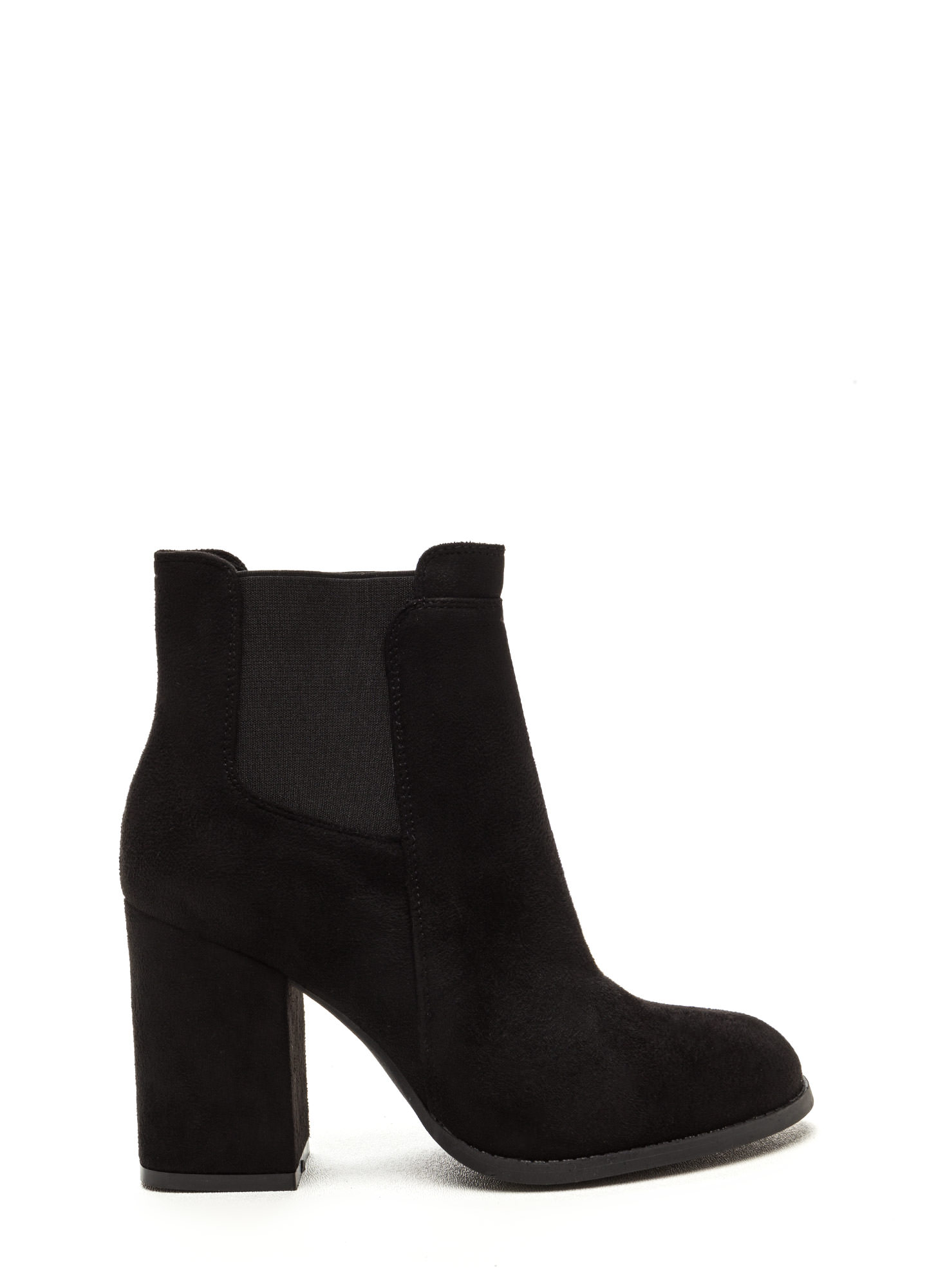 Daily Uniform Faux Suede Chunky Booties BLACK