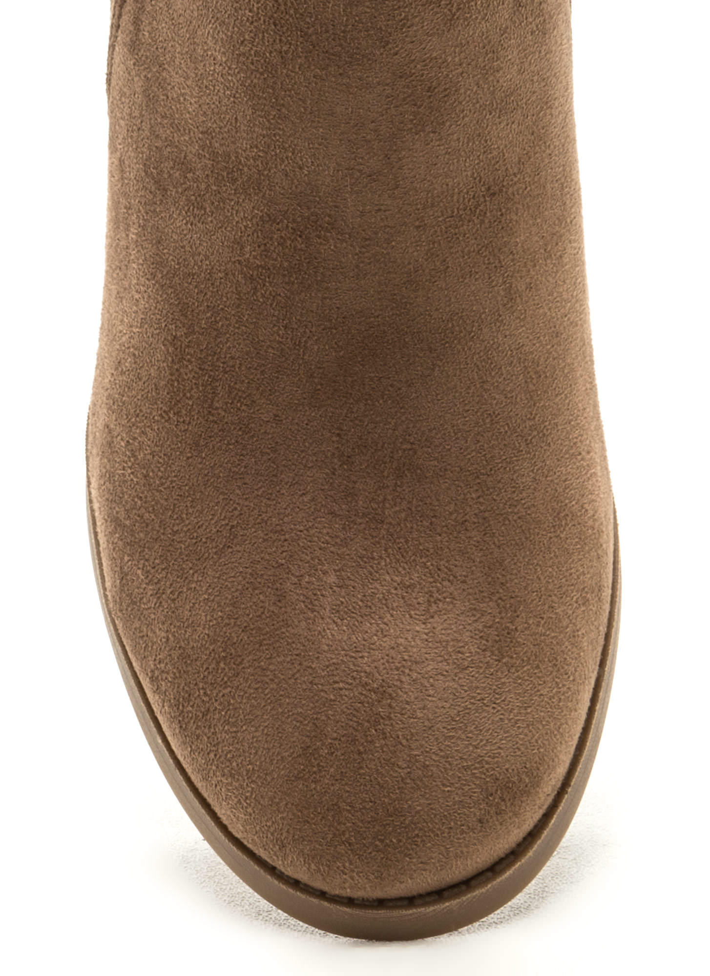 Daily Uniform Faux Suede Chunky Booties TAUPE