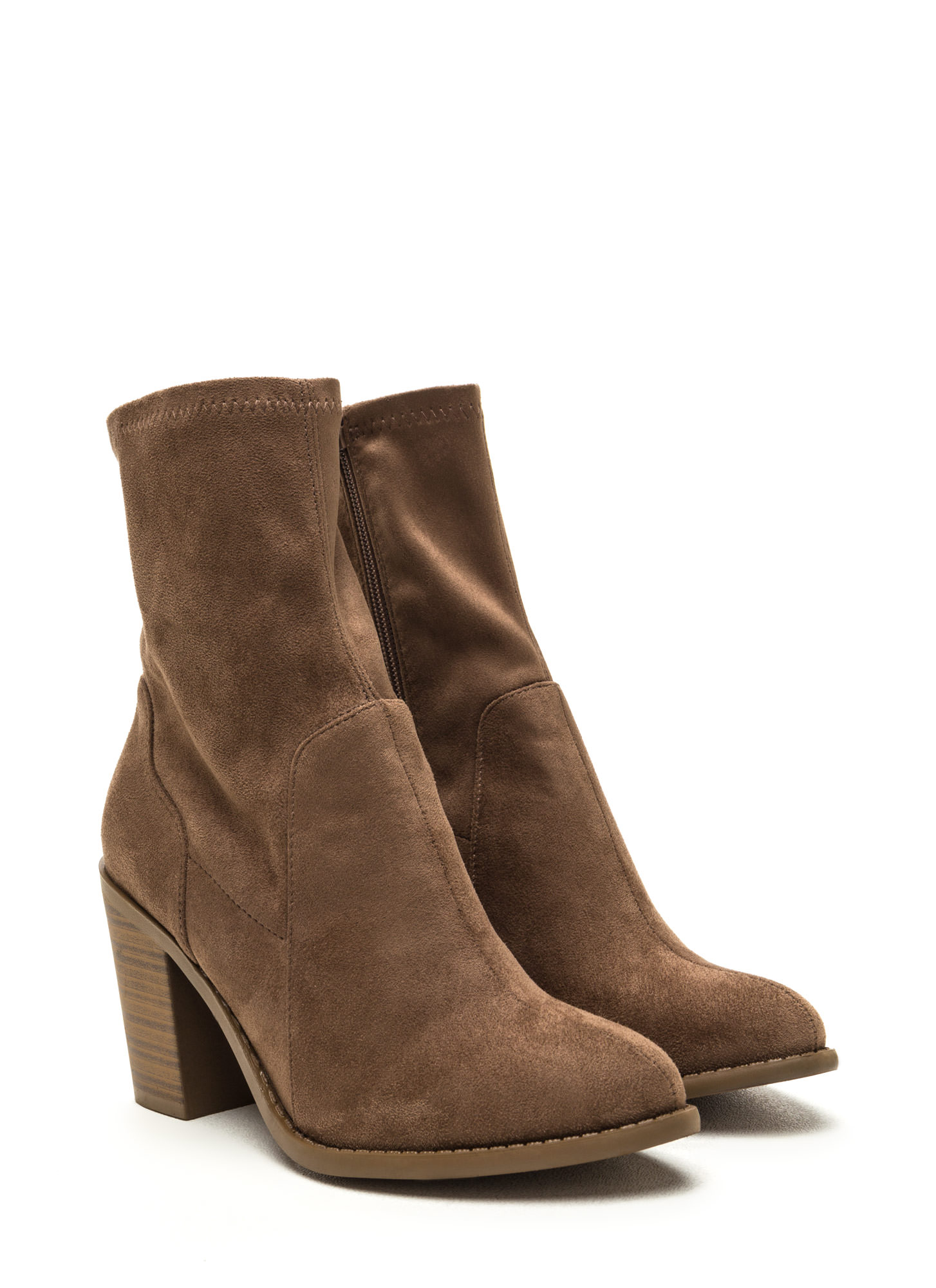 Save The Day Faux Suede Chunky Booties TAUPE
