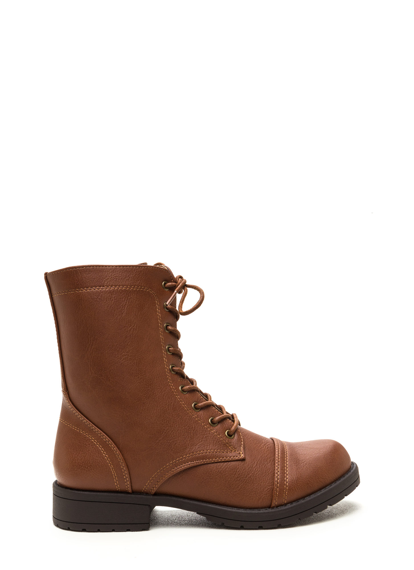 Fashion Operation Combat Boots COGNAC