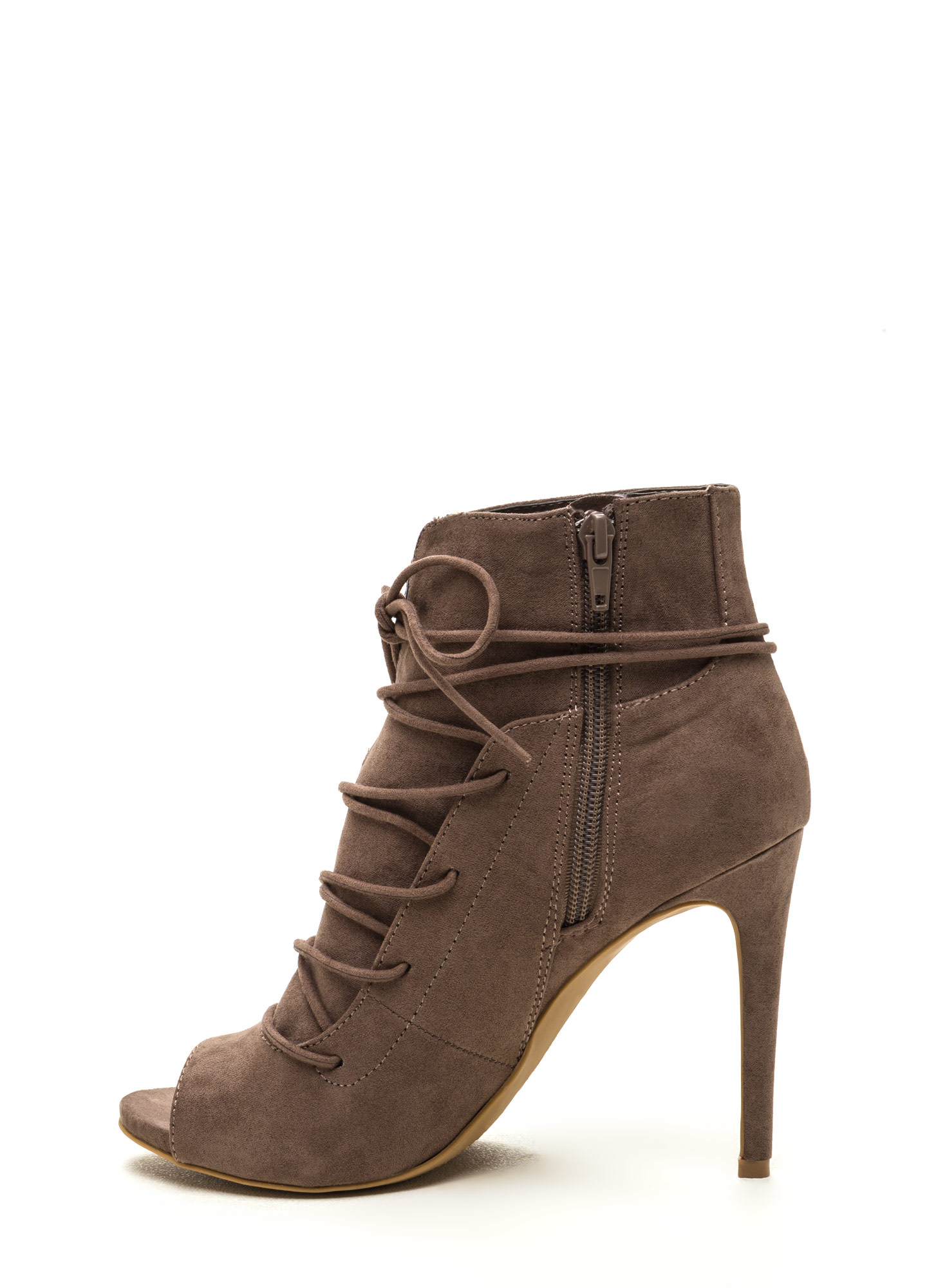 Slit Down Faux Suede Lace-Up Booties TAUPE