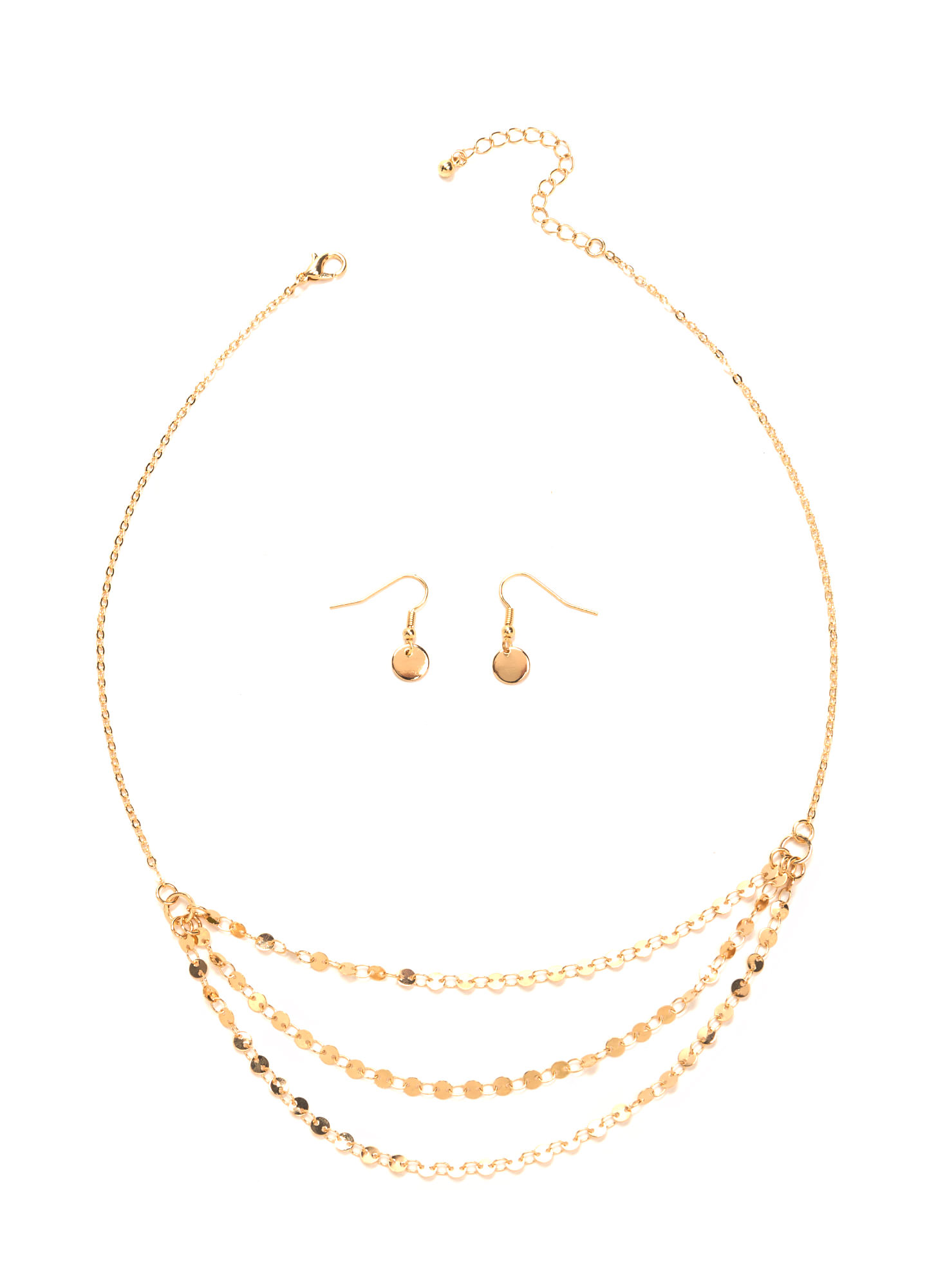 Delicate Glimmer Paillette Necklace Set GOLD