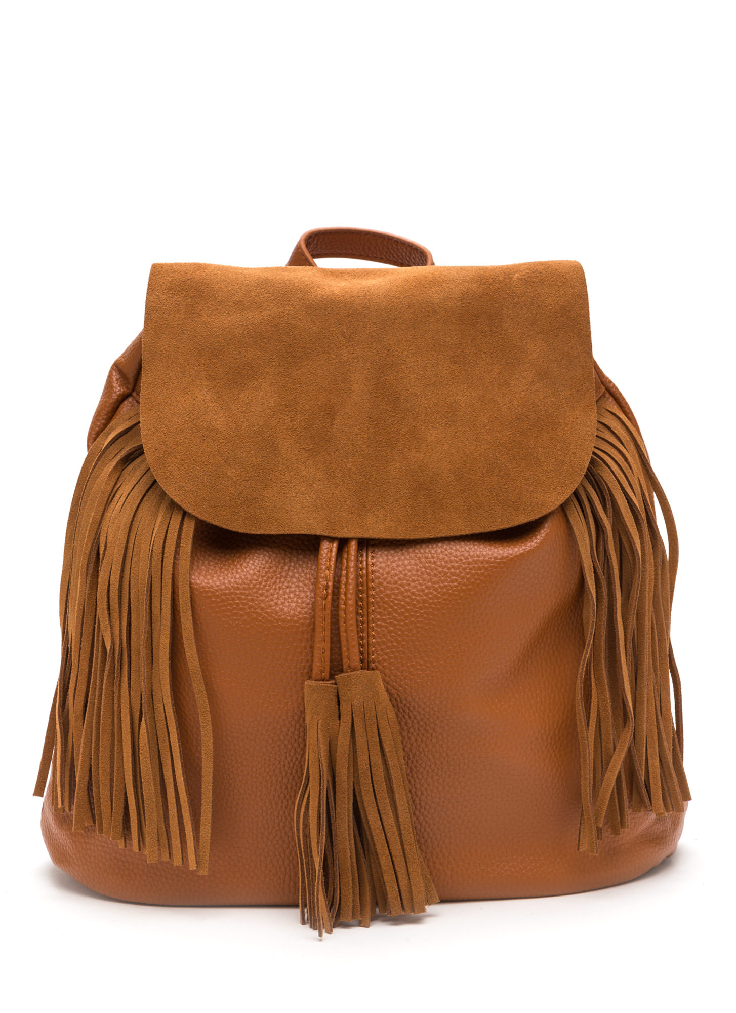 Fringe First Drawstring Backpack CAMEL