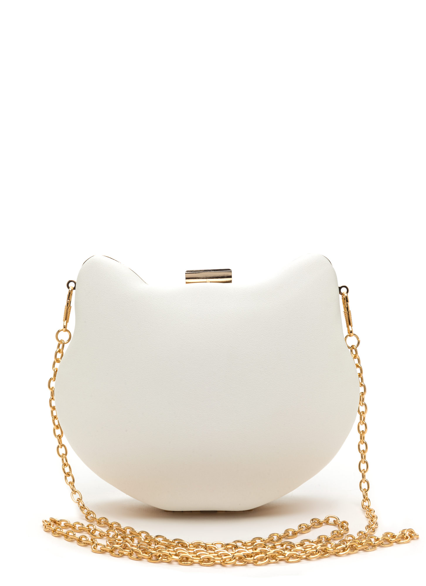 Kitty Please Cat Face Box Clutch WHITE