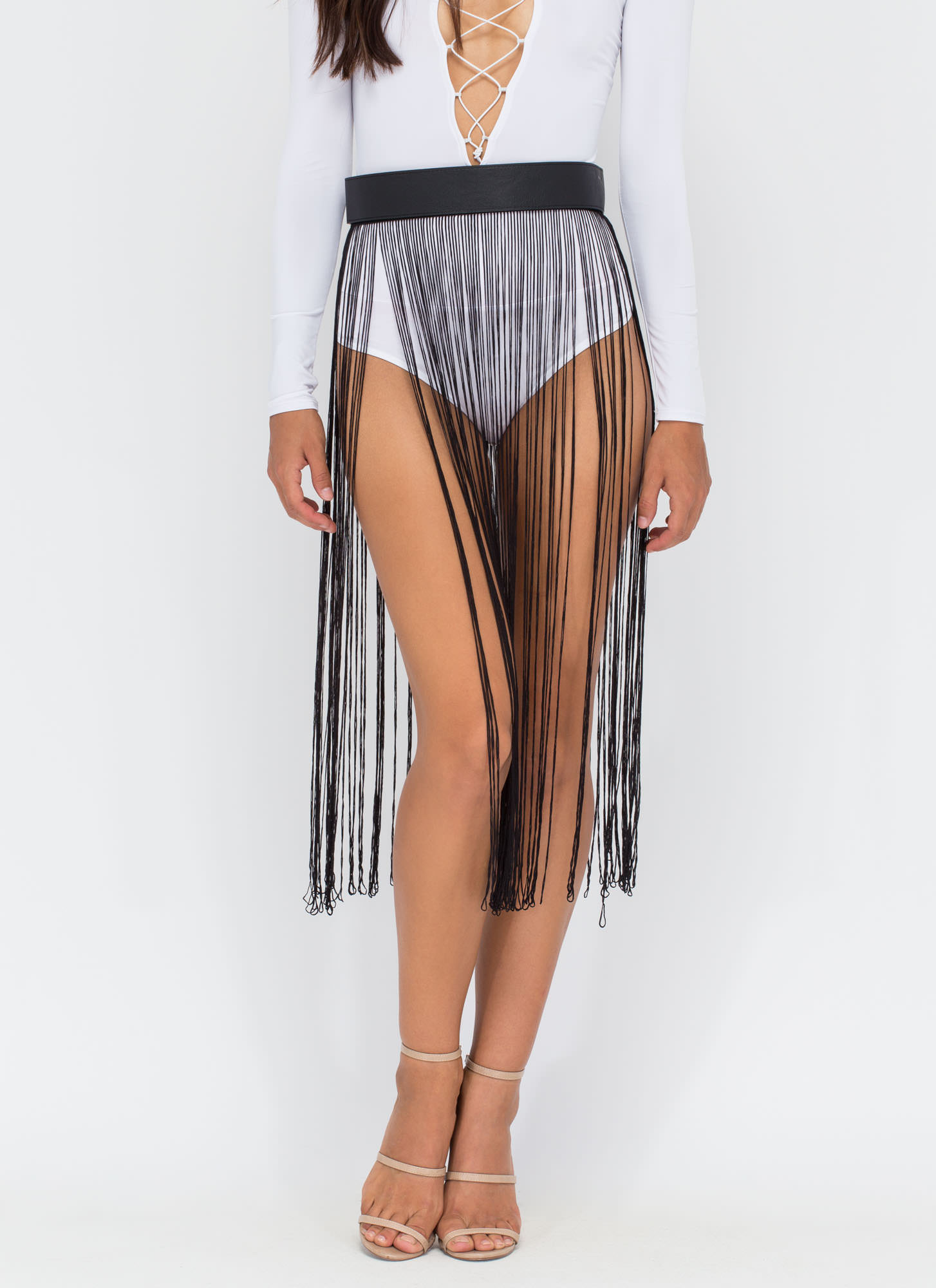 Fringed And Fab Skirted Belt BLACK