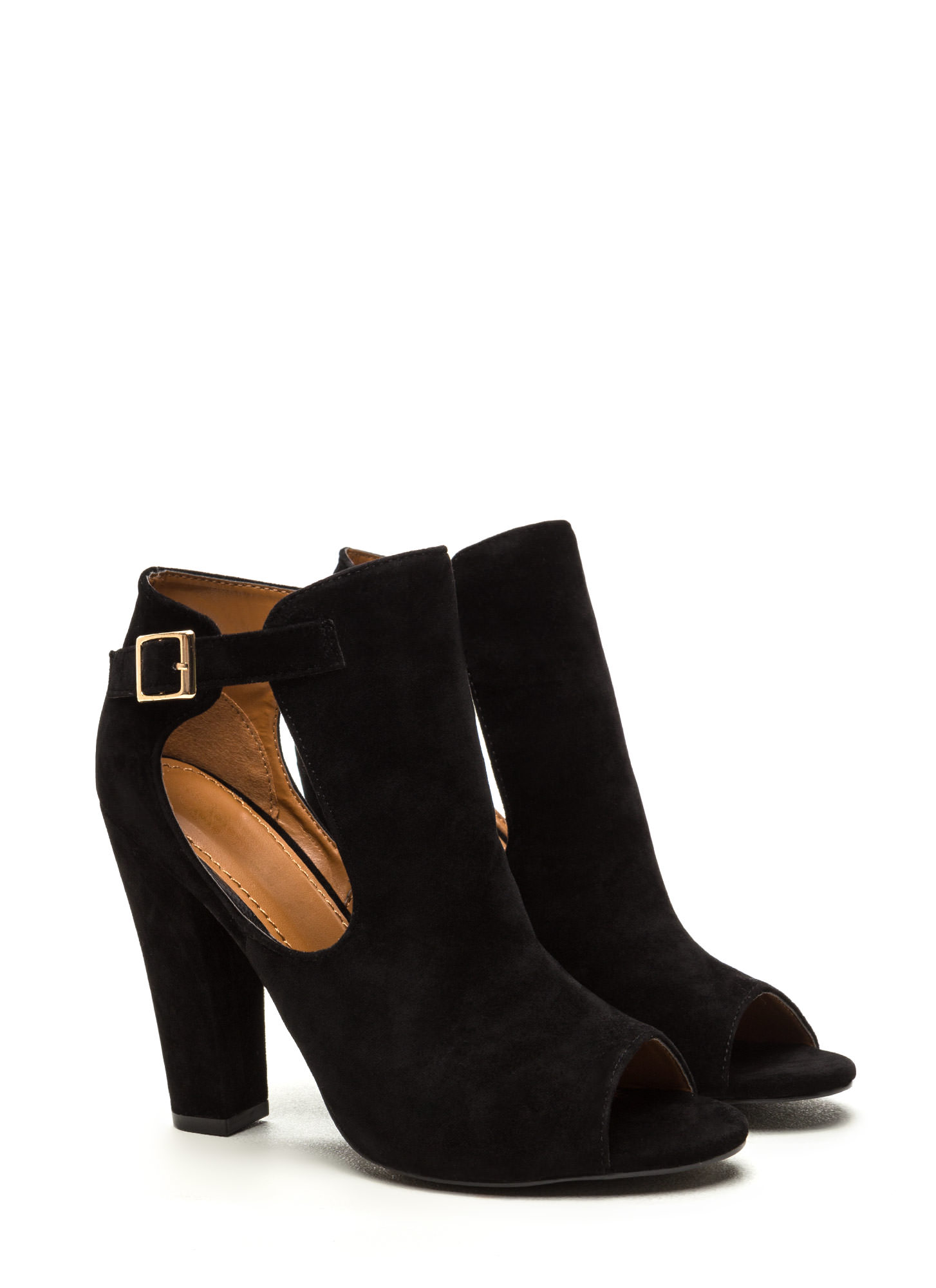 Secret Identity Cut-Out Booties  BLACK