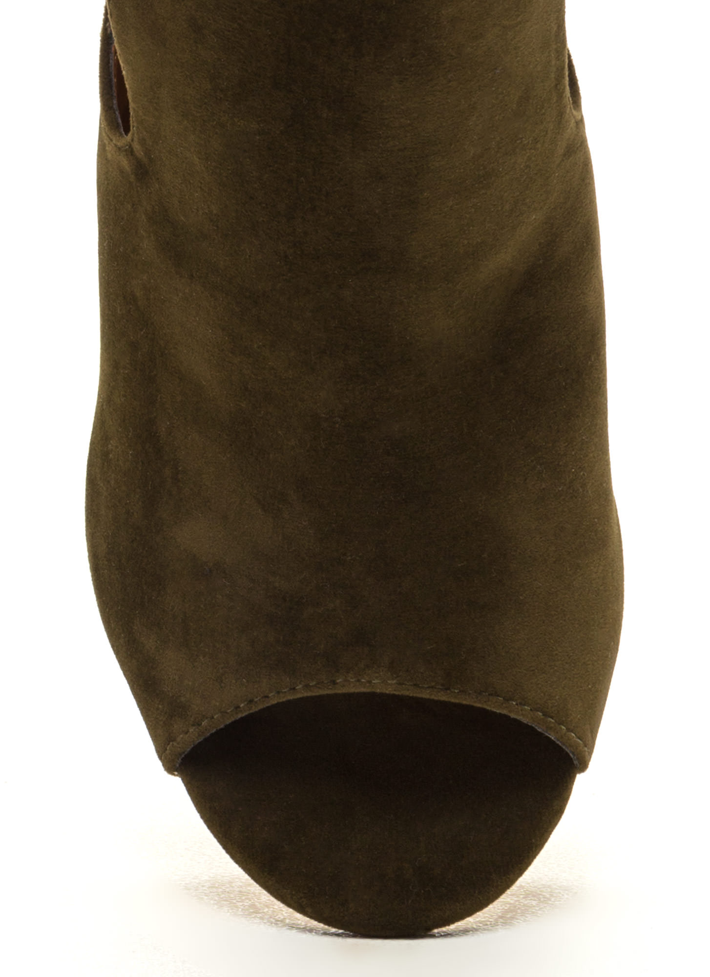 Secret Identity Cut-Out Booties  OLIVE