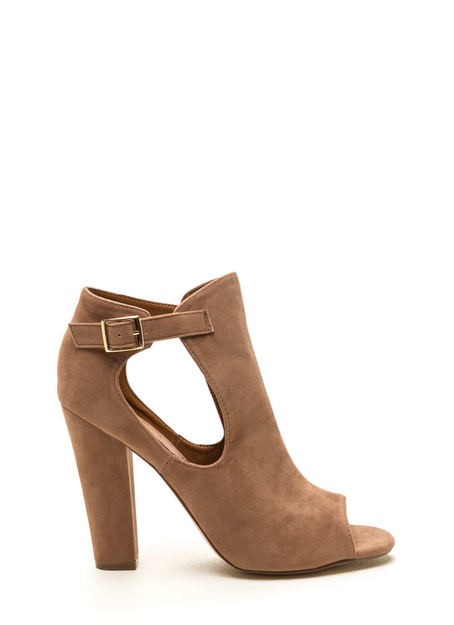 Secret Identity Cut-Out Booties  TAUPE