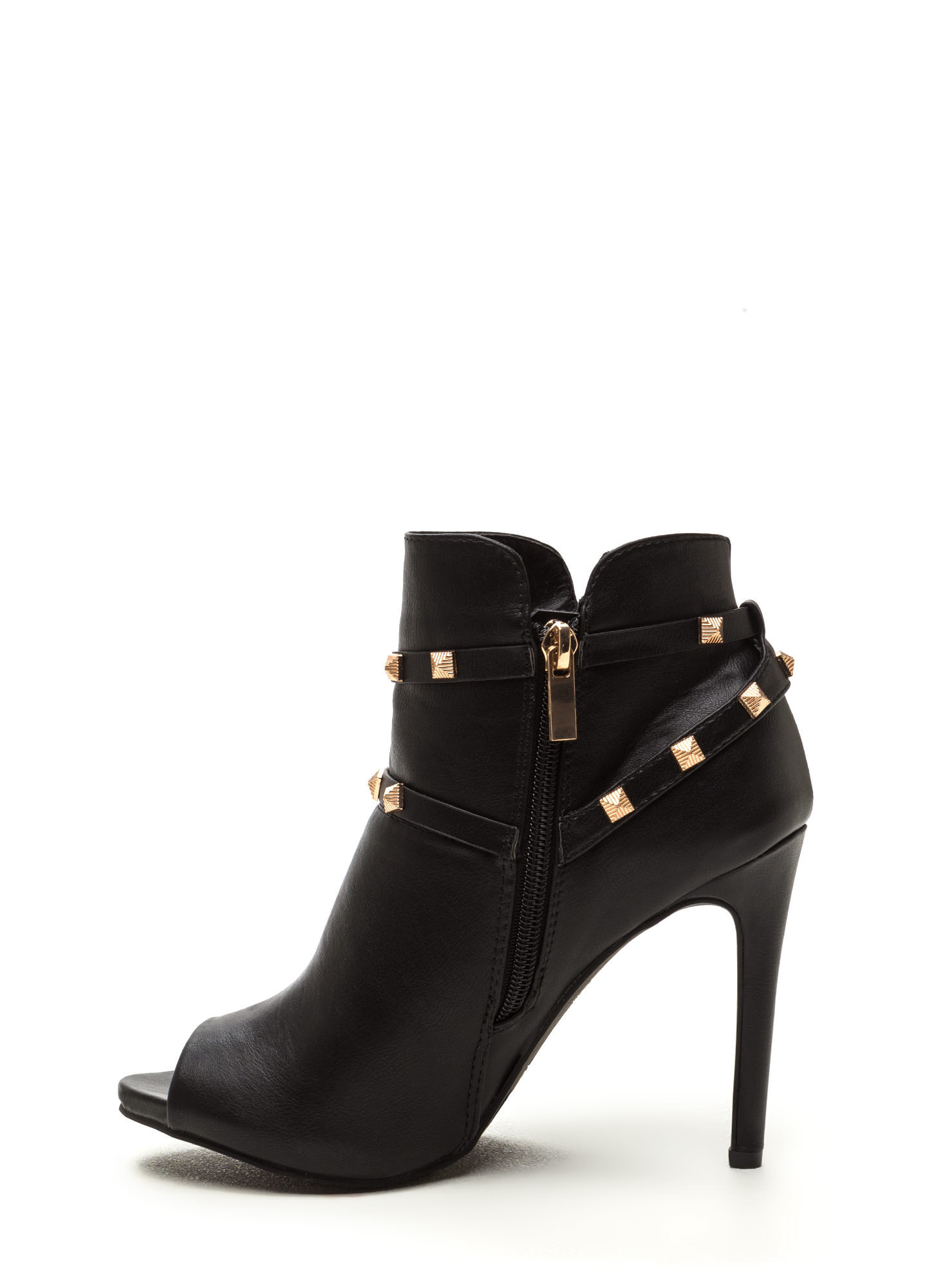 Edgy 'N Chic Strappy Studded Booties BLACK (Final Sale)