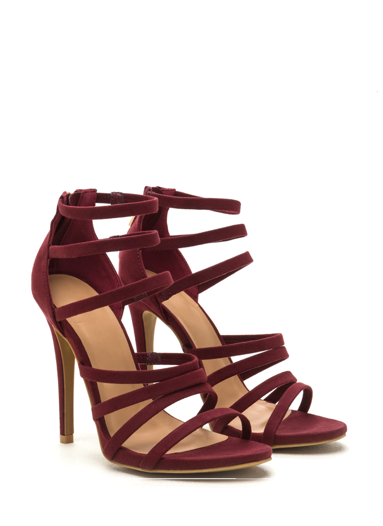 Top Rung Faux Suede Strappy Heels BURGUNDY