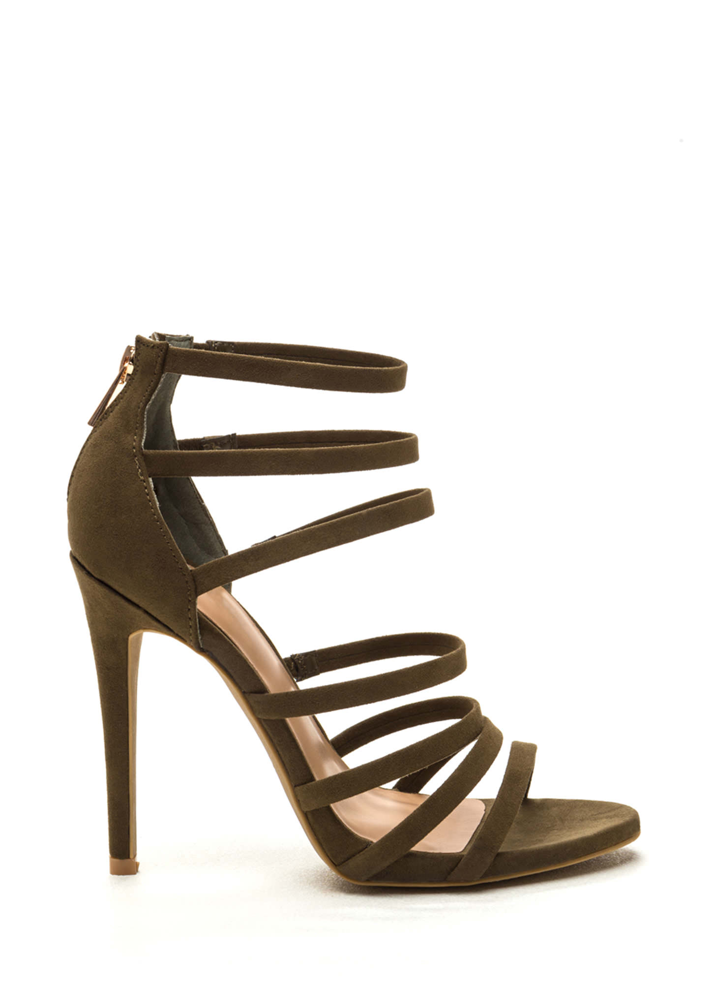 Top Rung Faux Suede Strappy Heels OLIVE