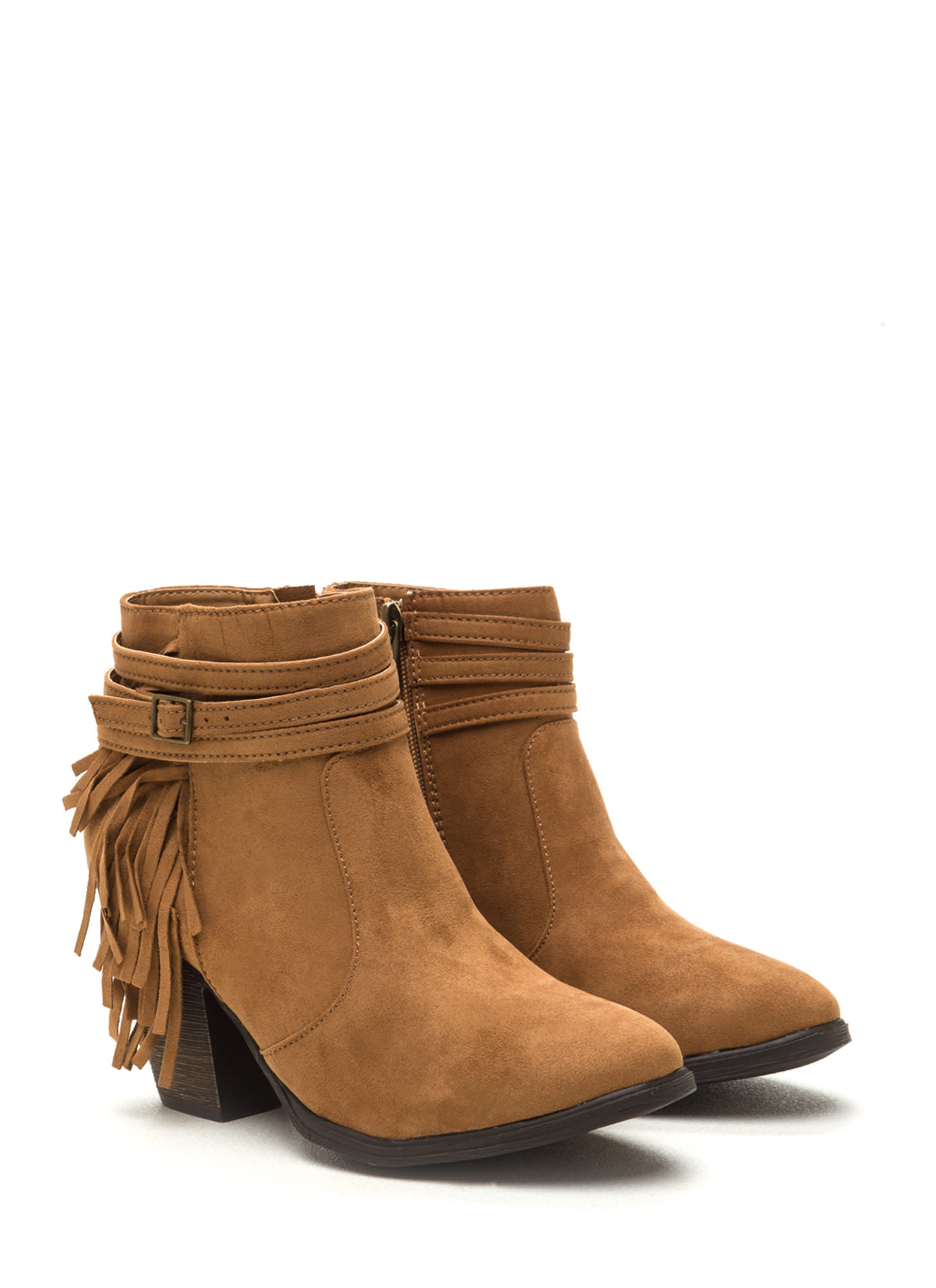 Fringe Benefit Faux Suede Booties NATURAL