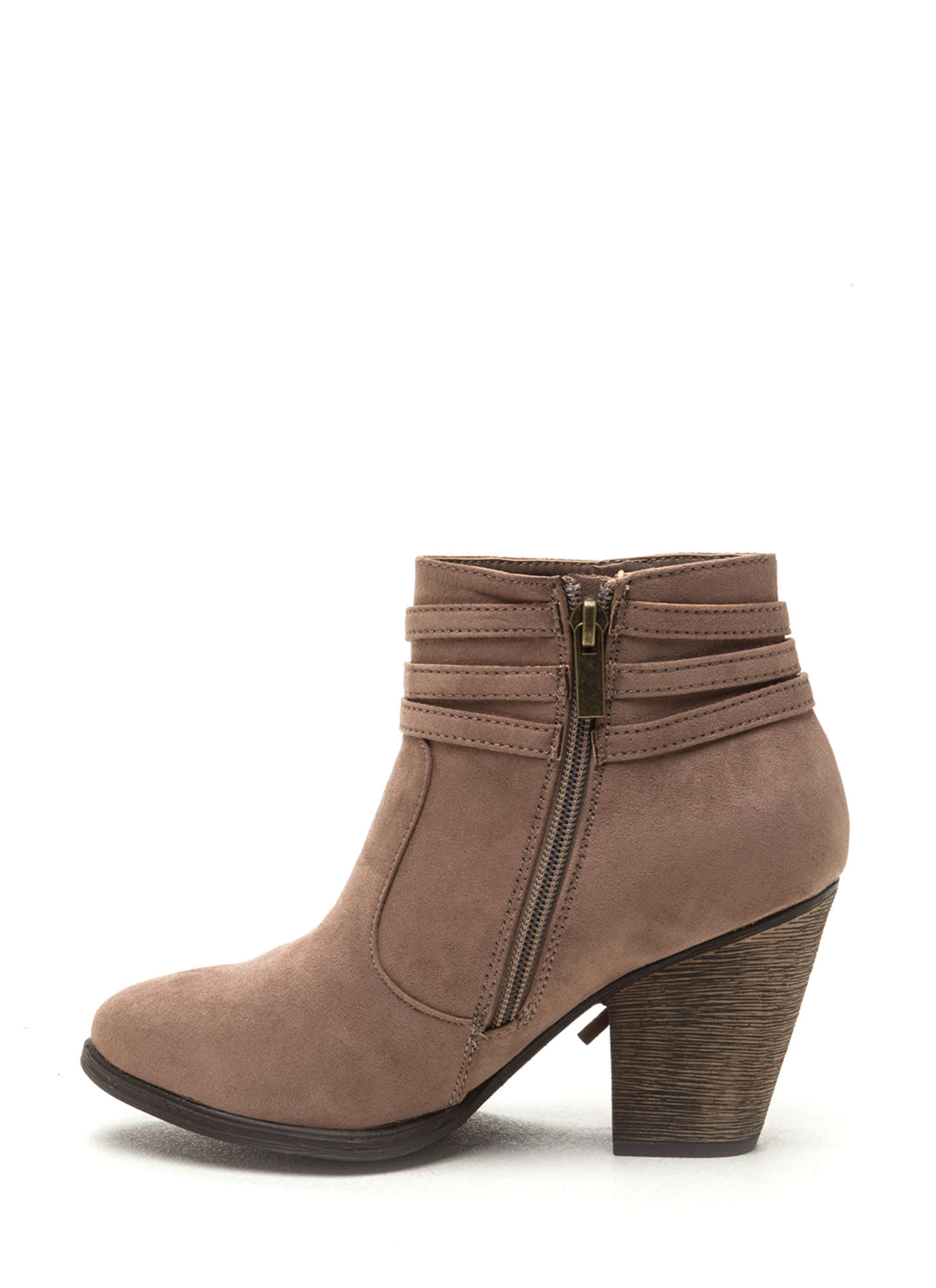 Fringe Benefit Faux Suede Booties TAUPE