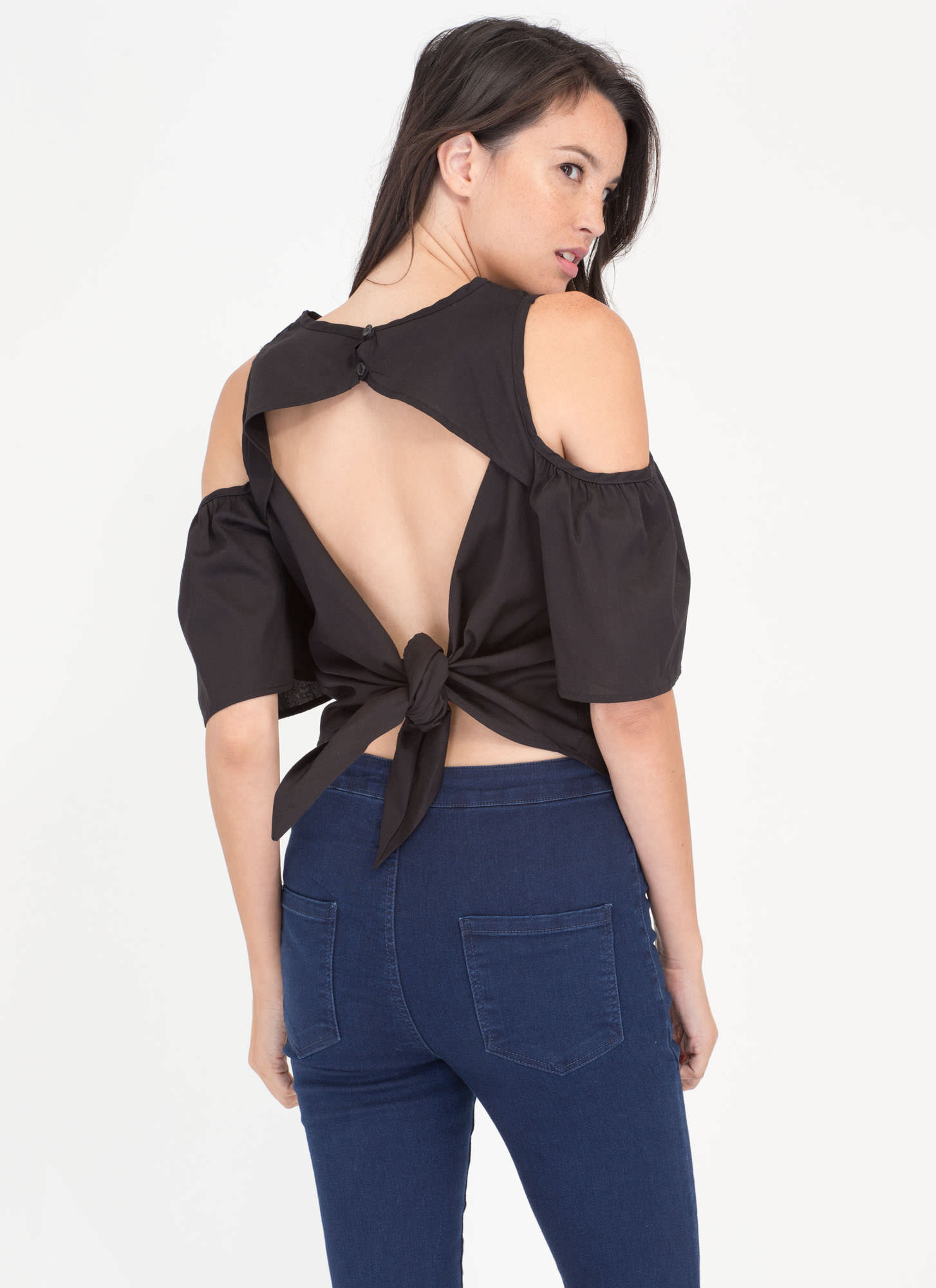 Tied Together Cold Shoulder Top BLACK