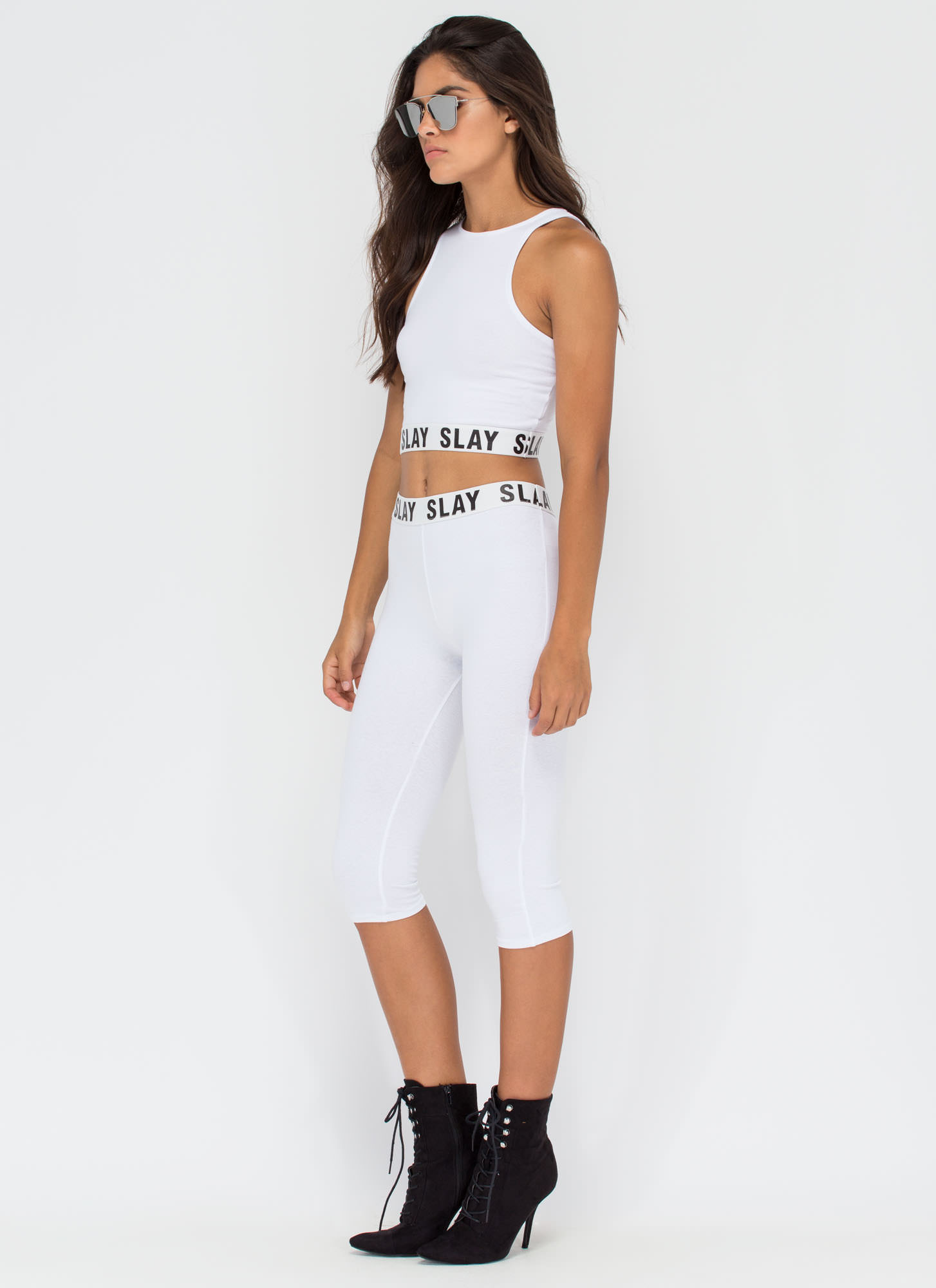 Slay All Day Cropped Leggings WHITE