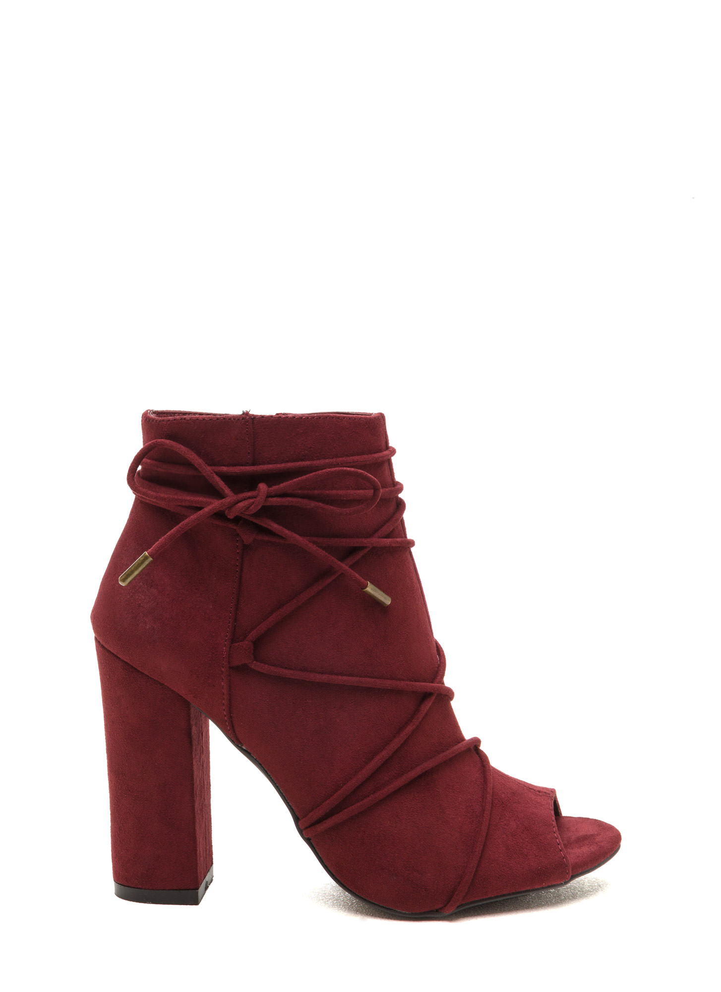 Easy Strut Lace-Up Faux Suede Booties BURGUNDY