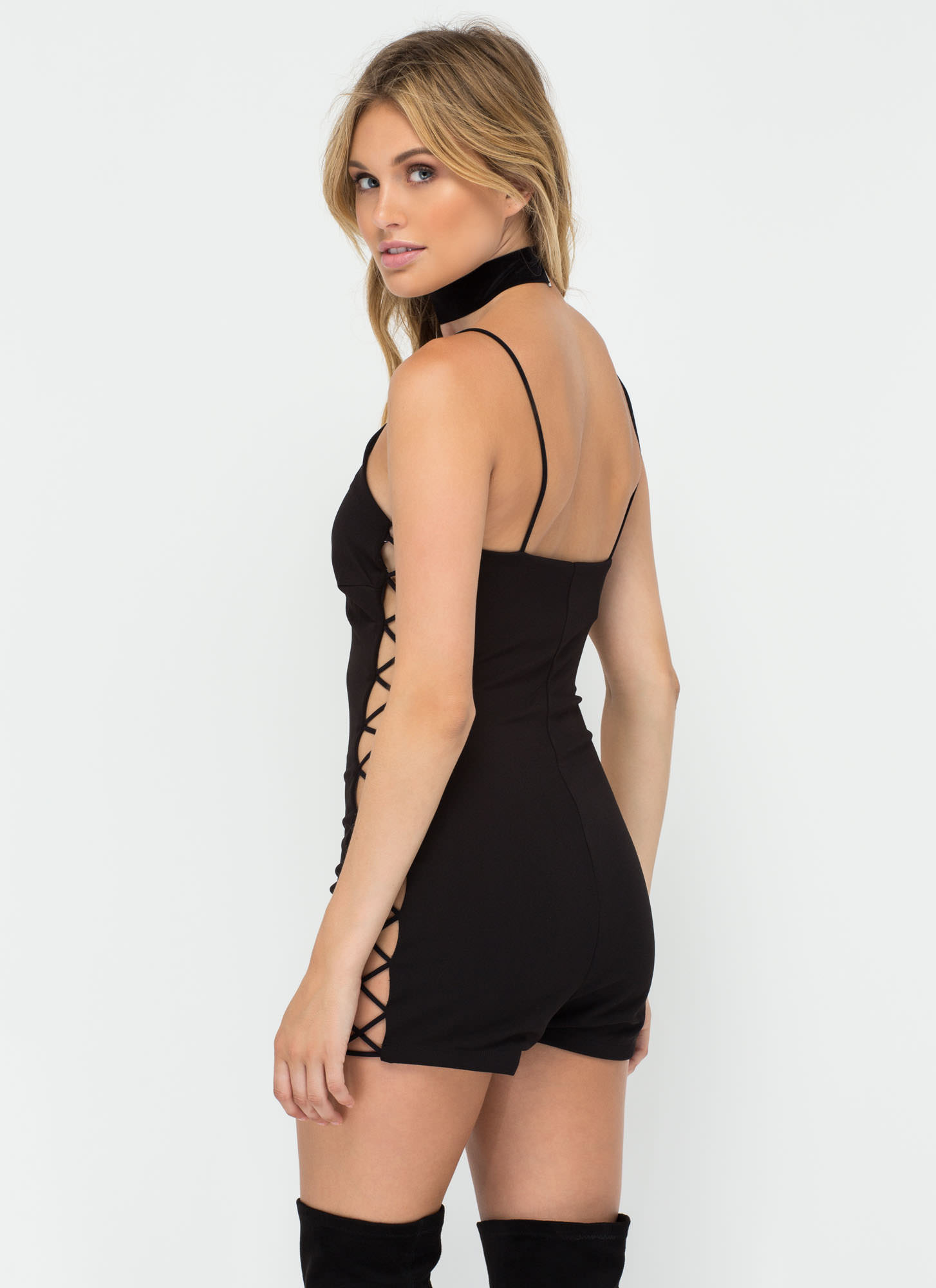 Truth Or Bare Lace-Up Sweetheart Romper BLACK