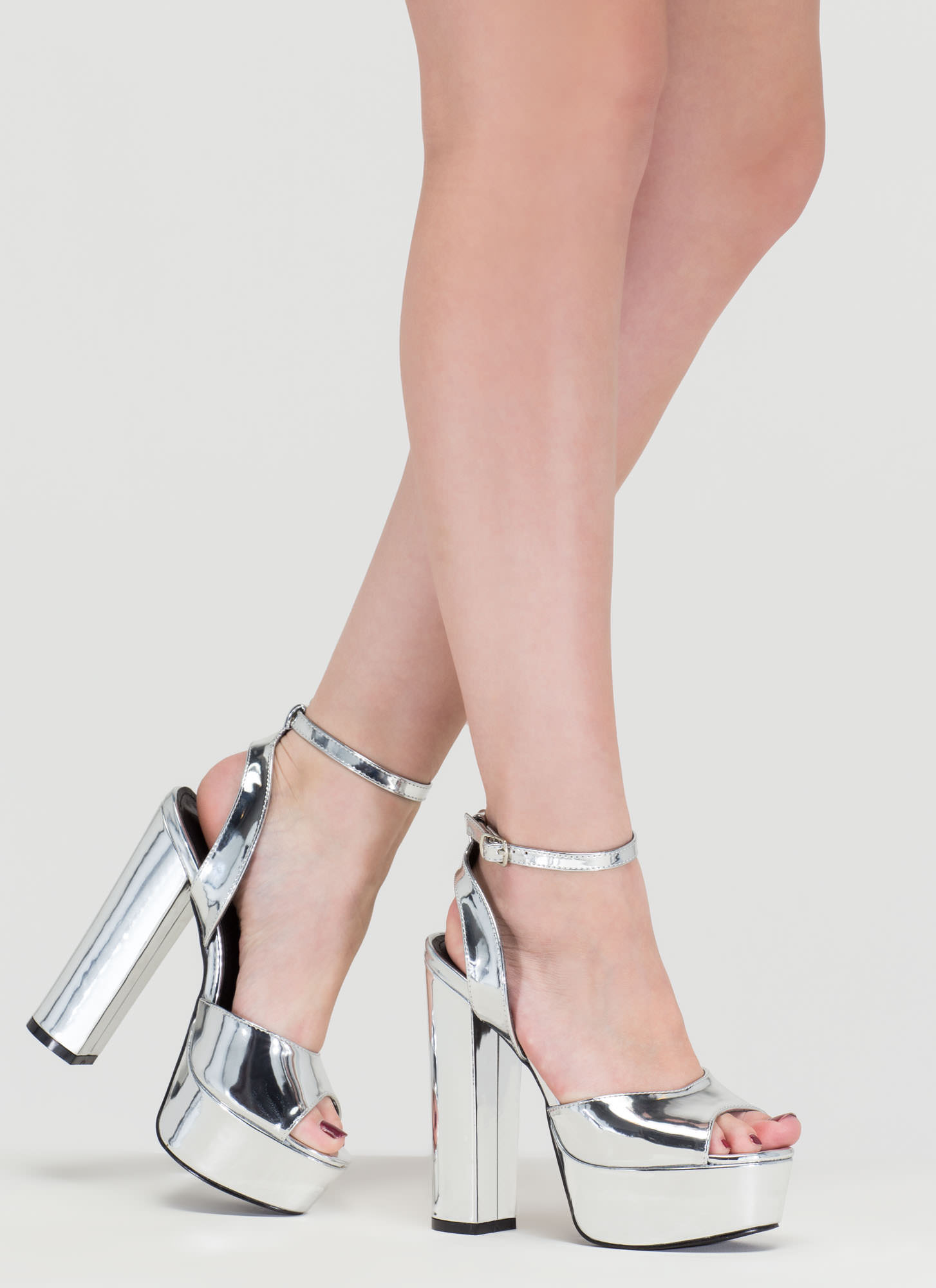 Silver Metallic Platform Heels - Is Heel