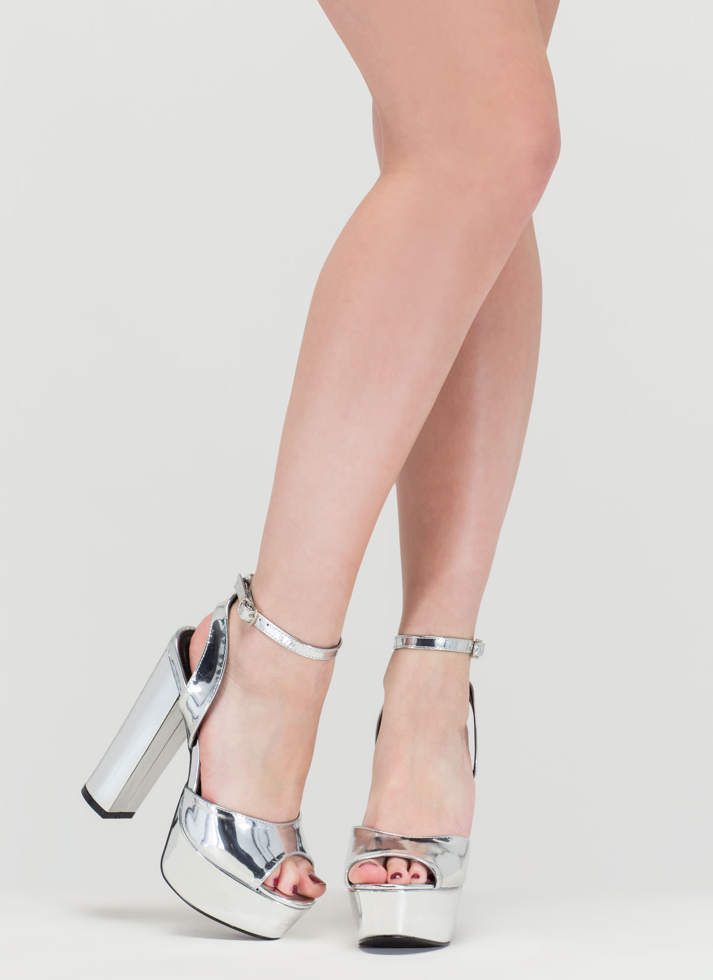 Metallic Chunky Heels - Is Heel