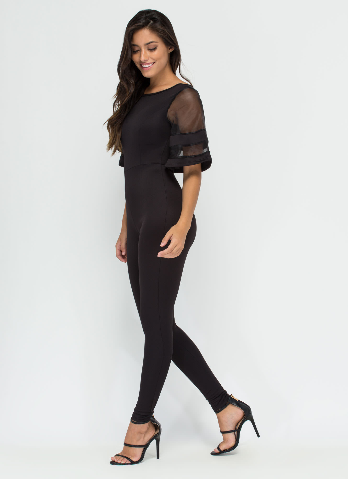 Chic Trick Bell-Sleeve Jumpsuit BLACK