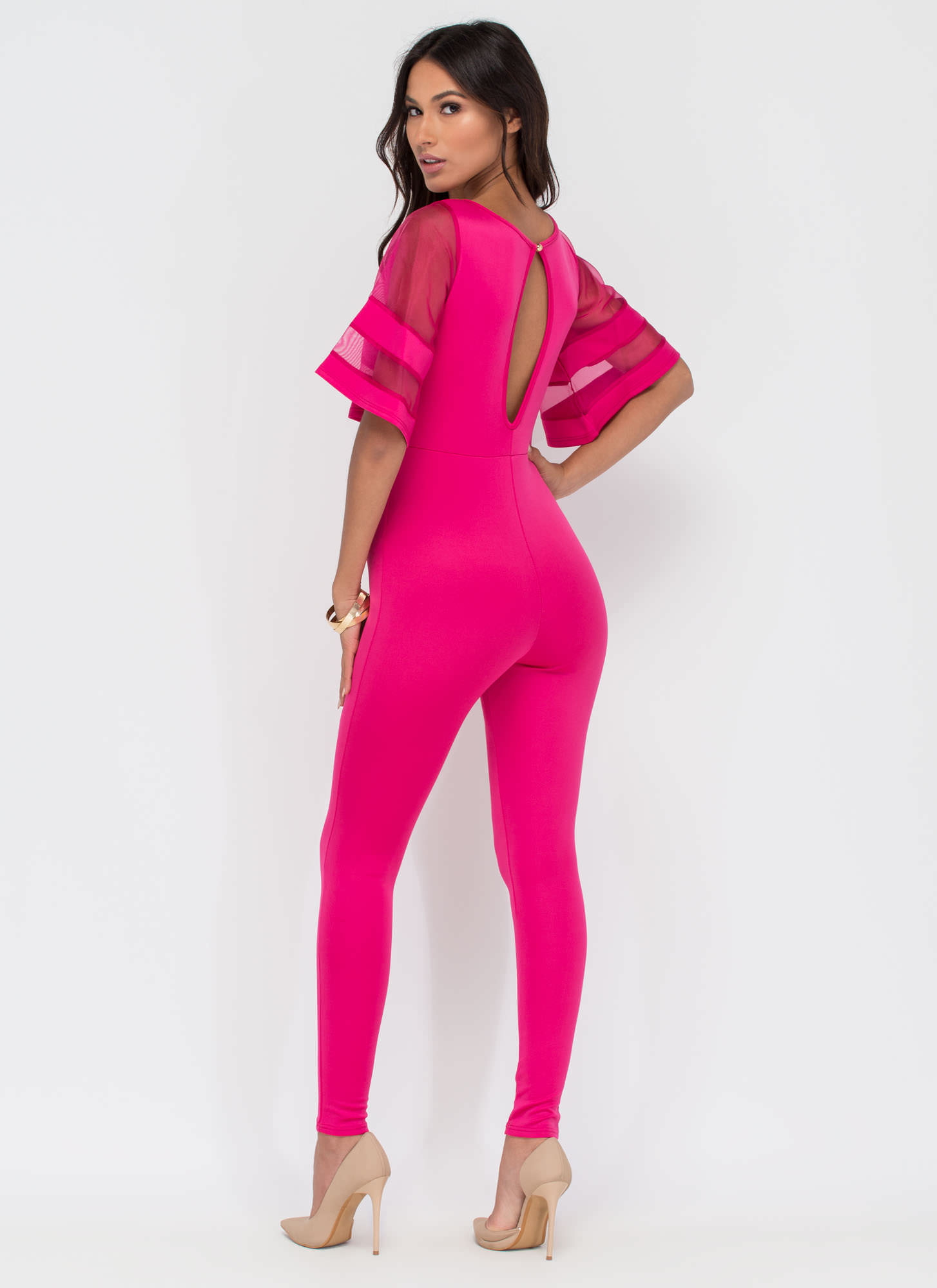 Chic Trick Bell-Sleeve Jumpsuit FUCHSIA