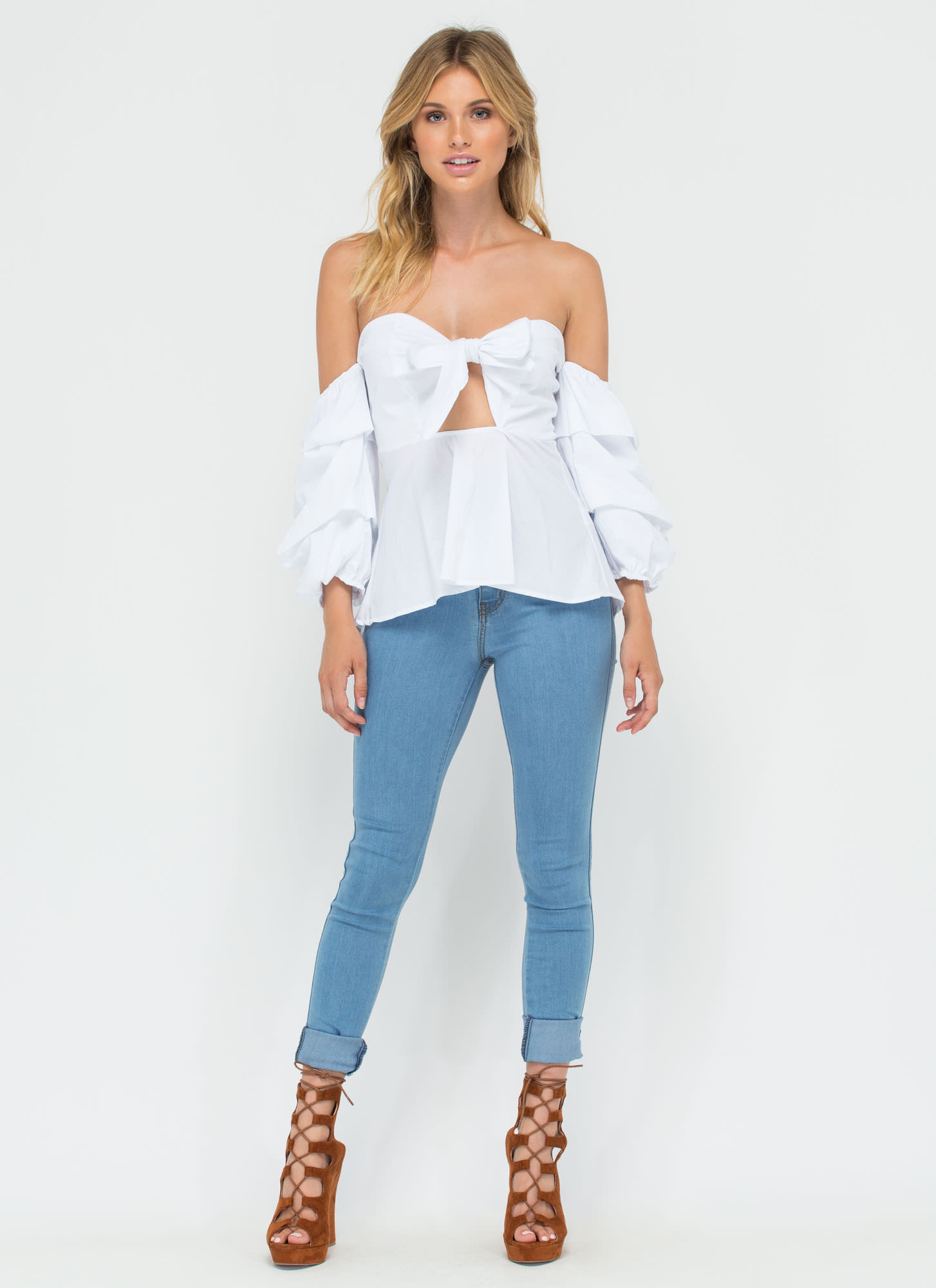Flirty And Fabulous Off-Shoulder Top WHITE