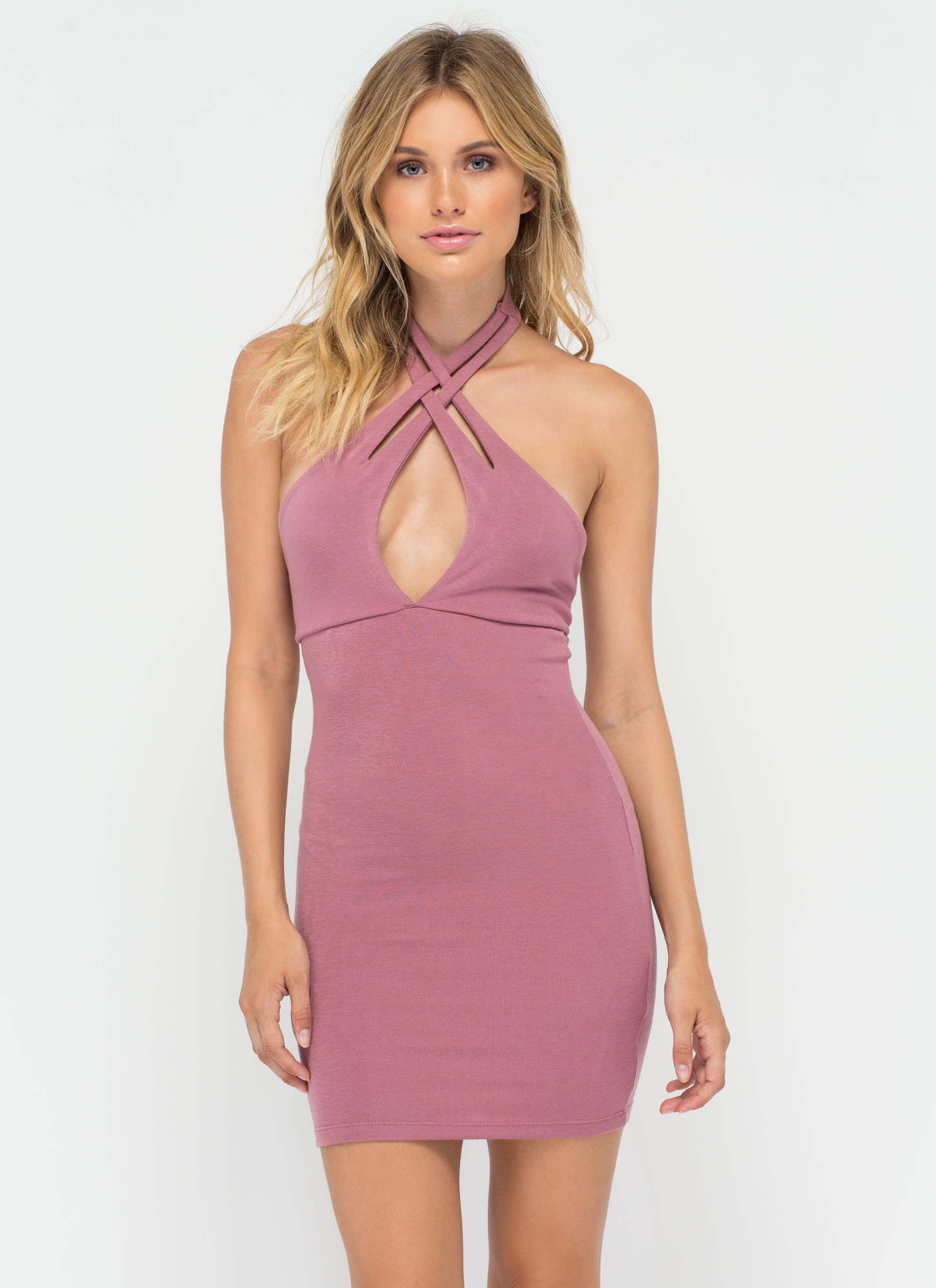 Weave In And Out Strappy Halter Dress MAUVE