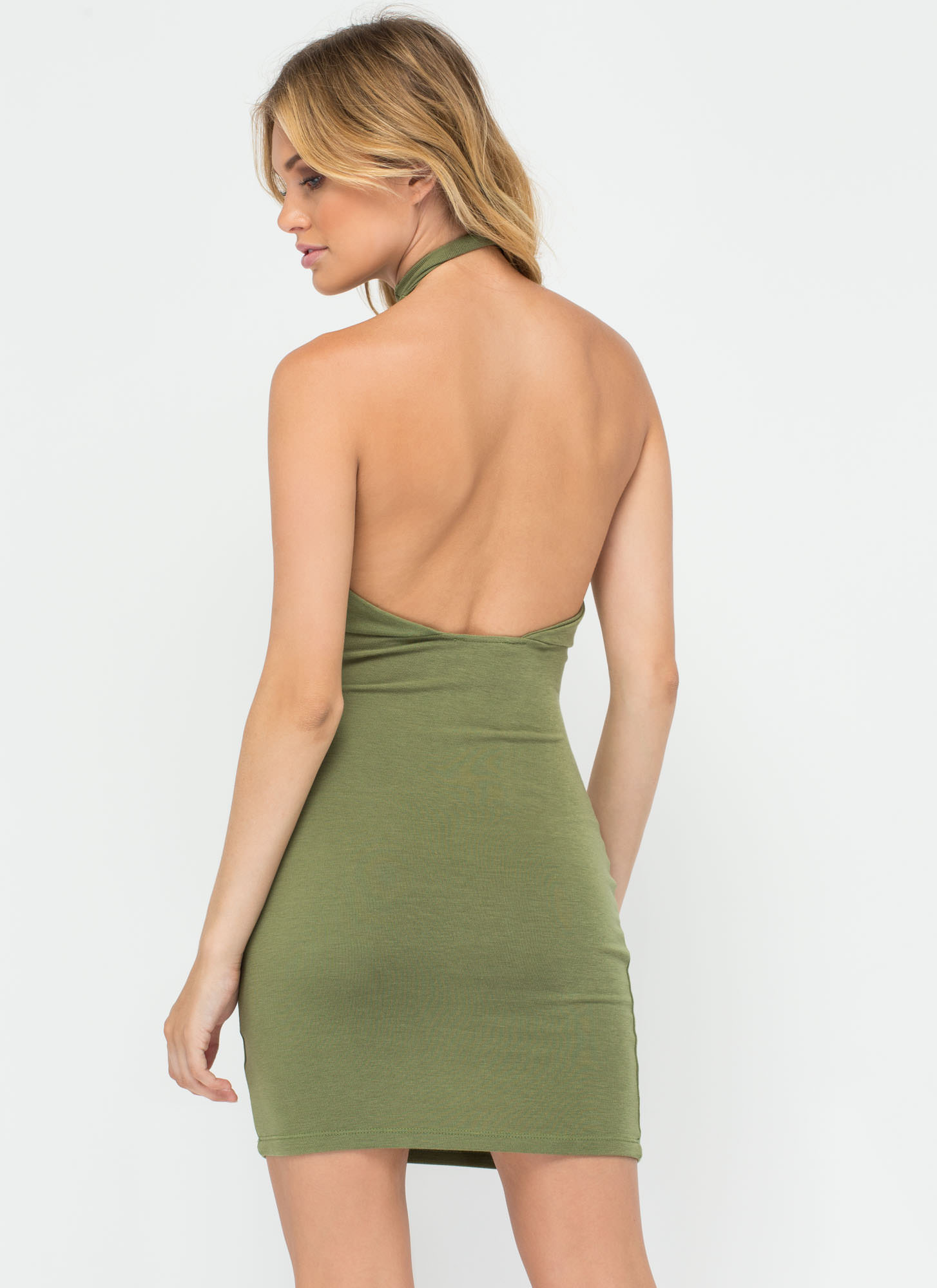 Weave In And Out Strappy Halter Dress OLIVE