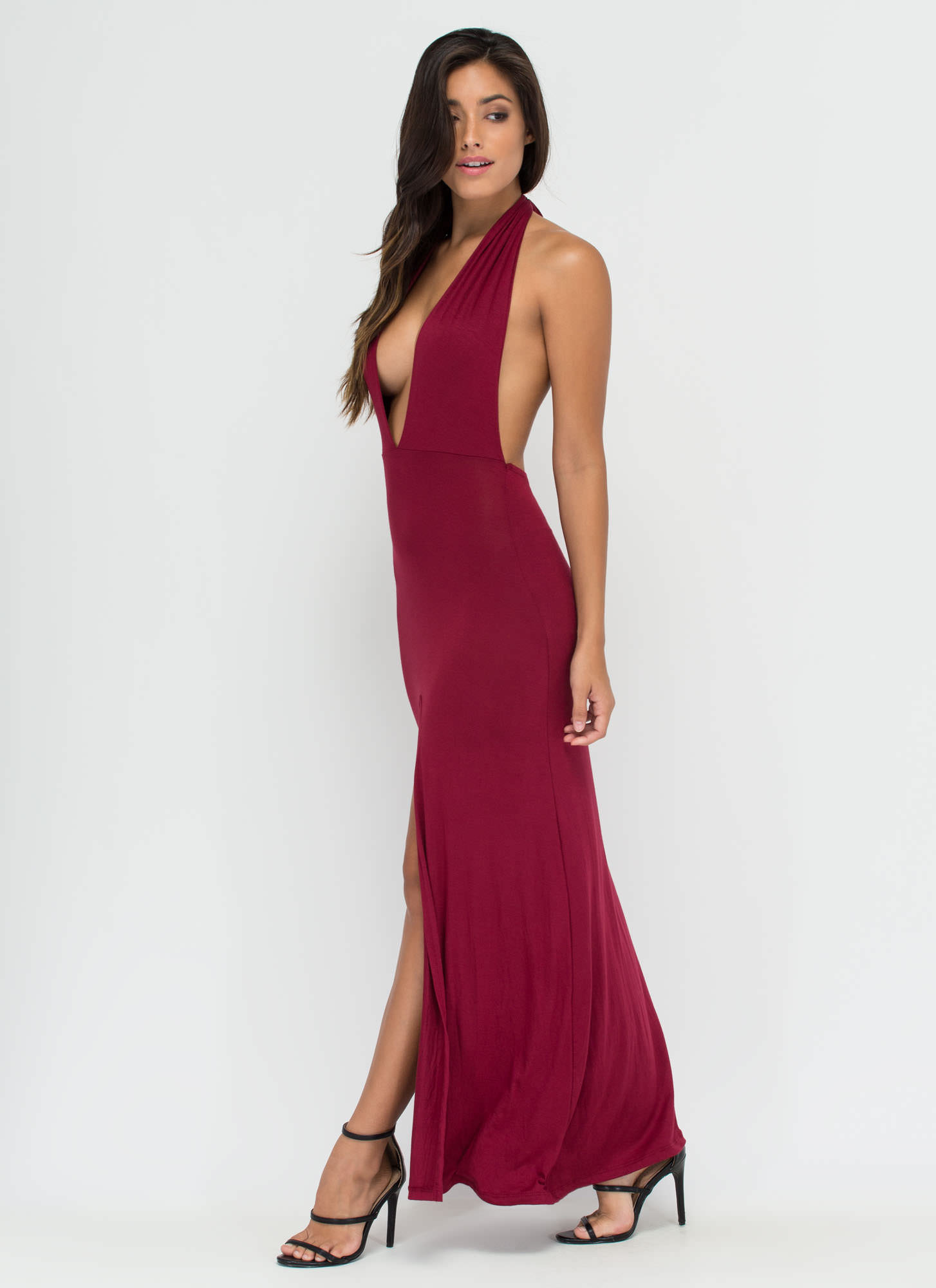 One Fine Day Halter Maxi Dress BURGUNDY
