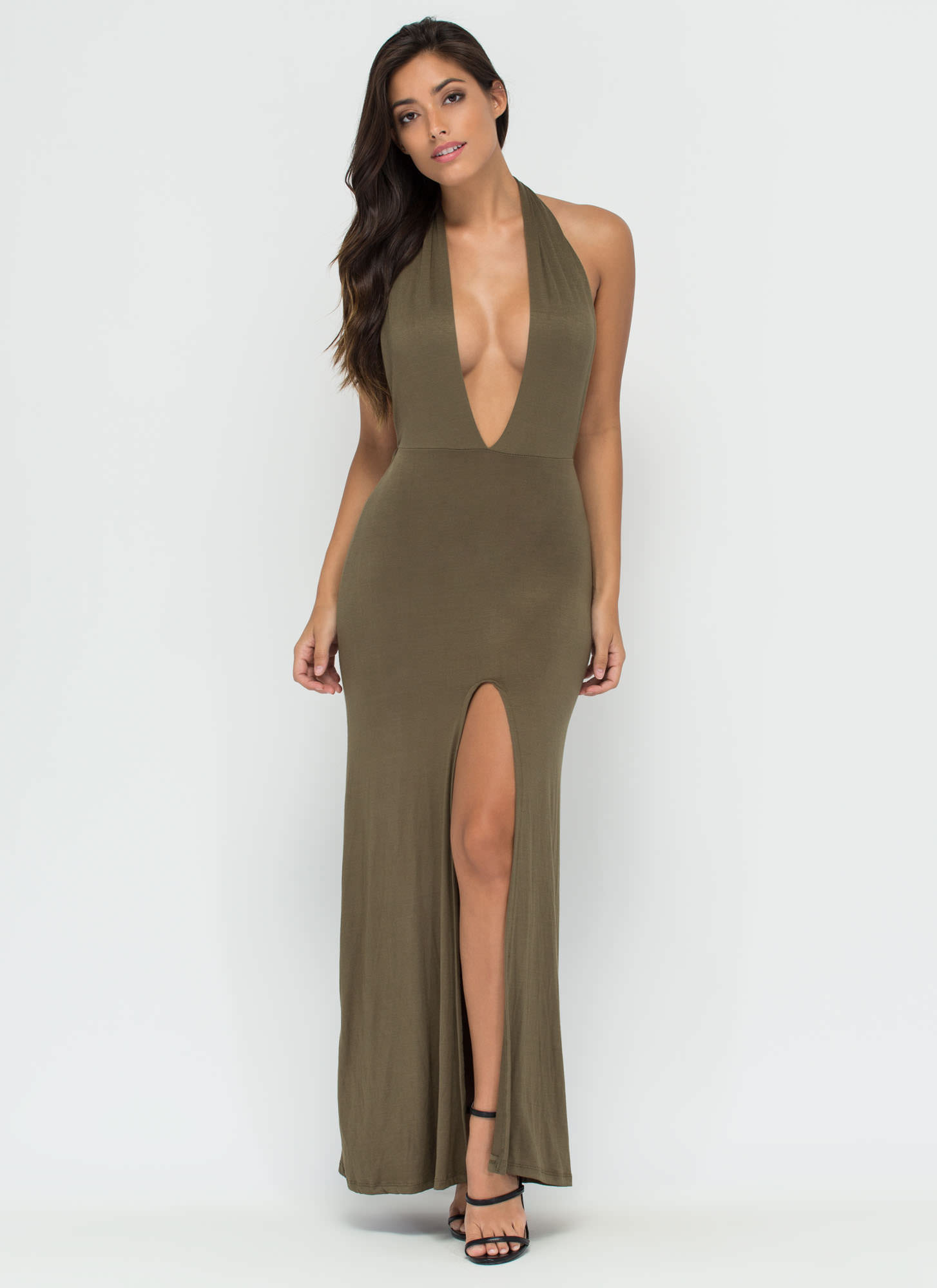 One Fine Day Halter Maxi Dress OLIVE
