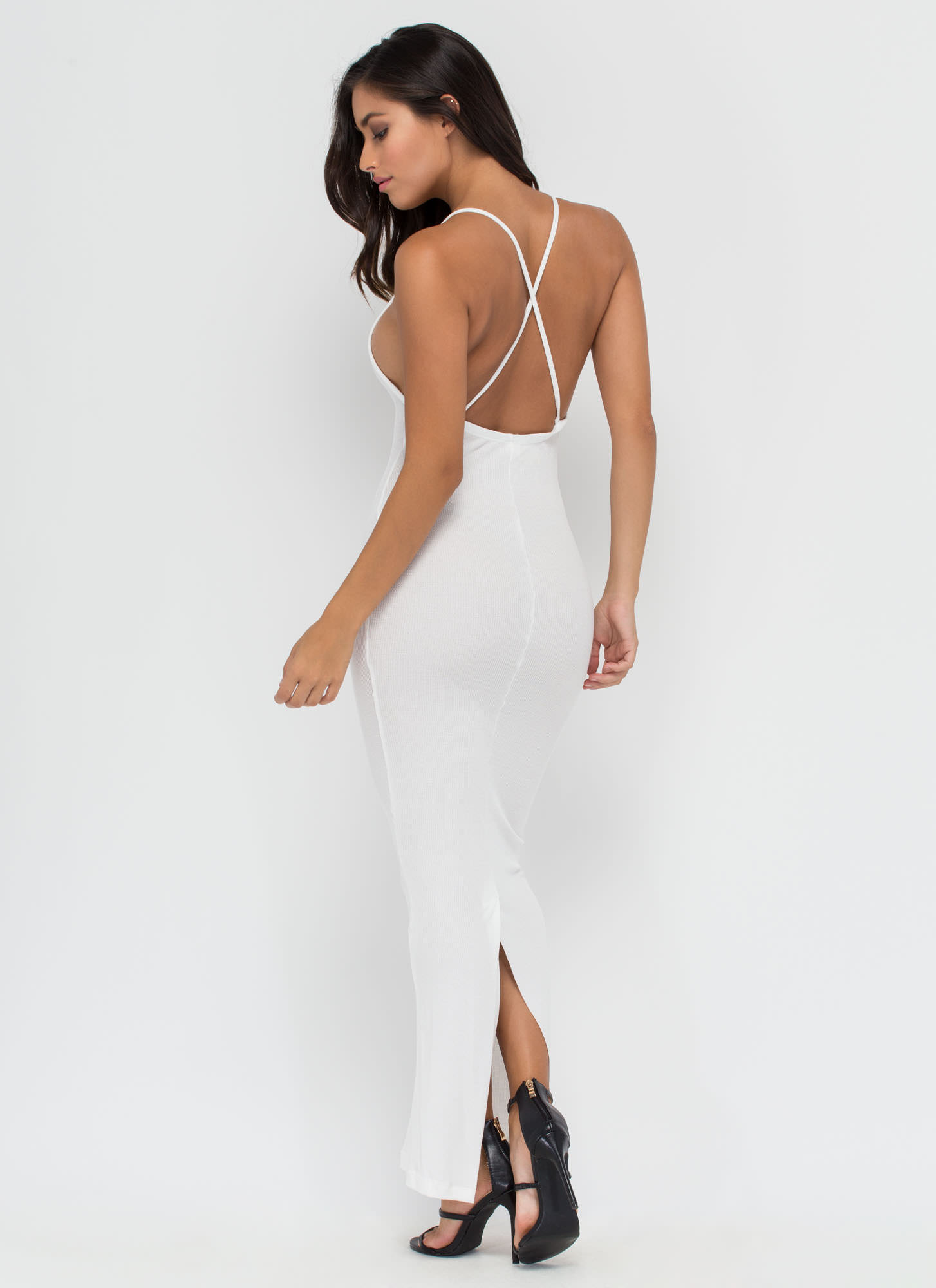 Like Back Thermal Bodycon Maxi Dress WHITE