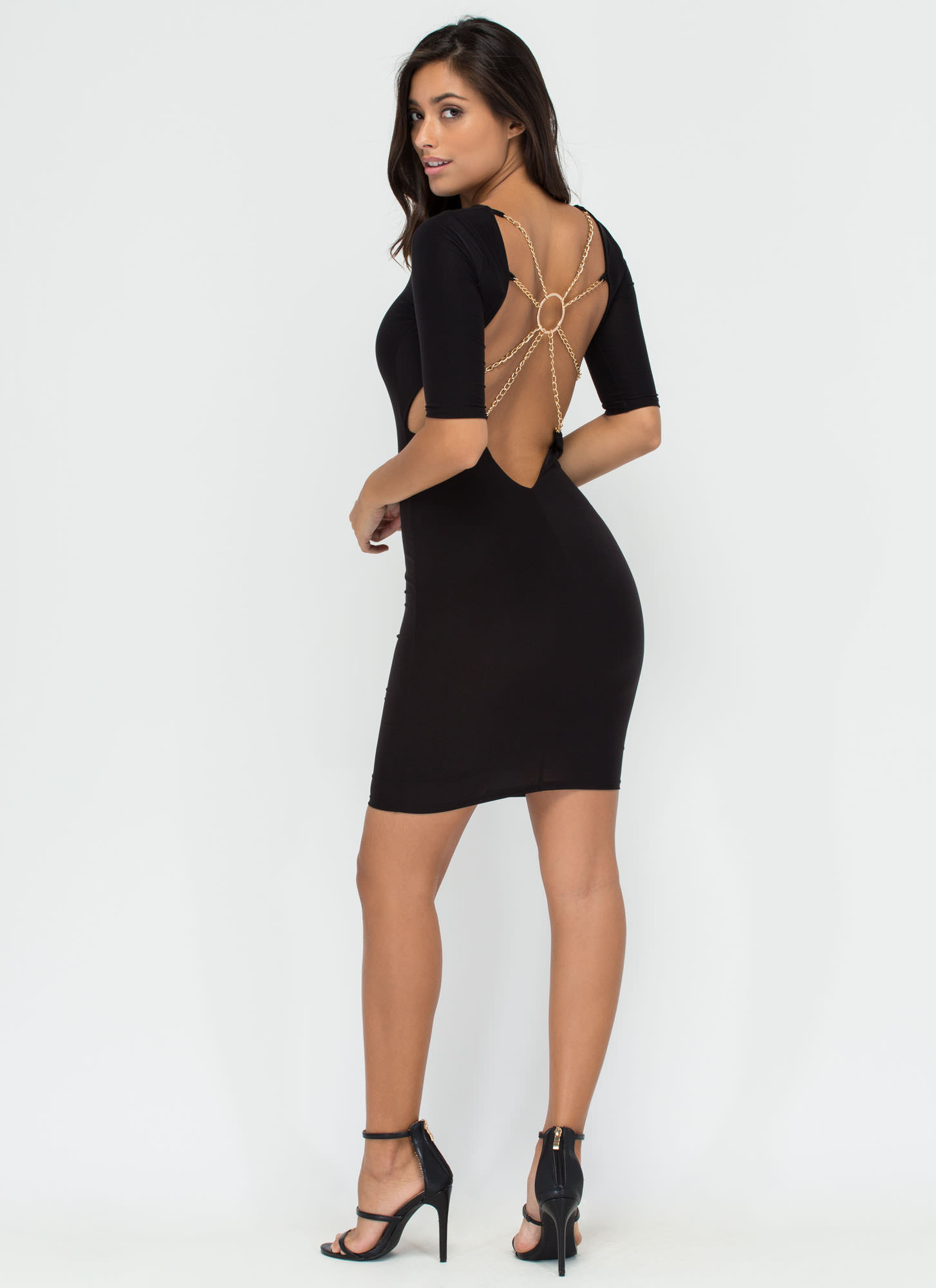 Web Design Chained Open Back Dress BLACK