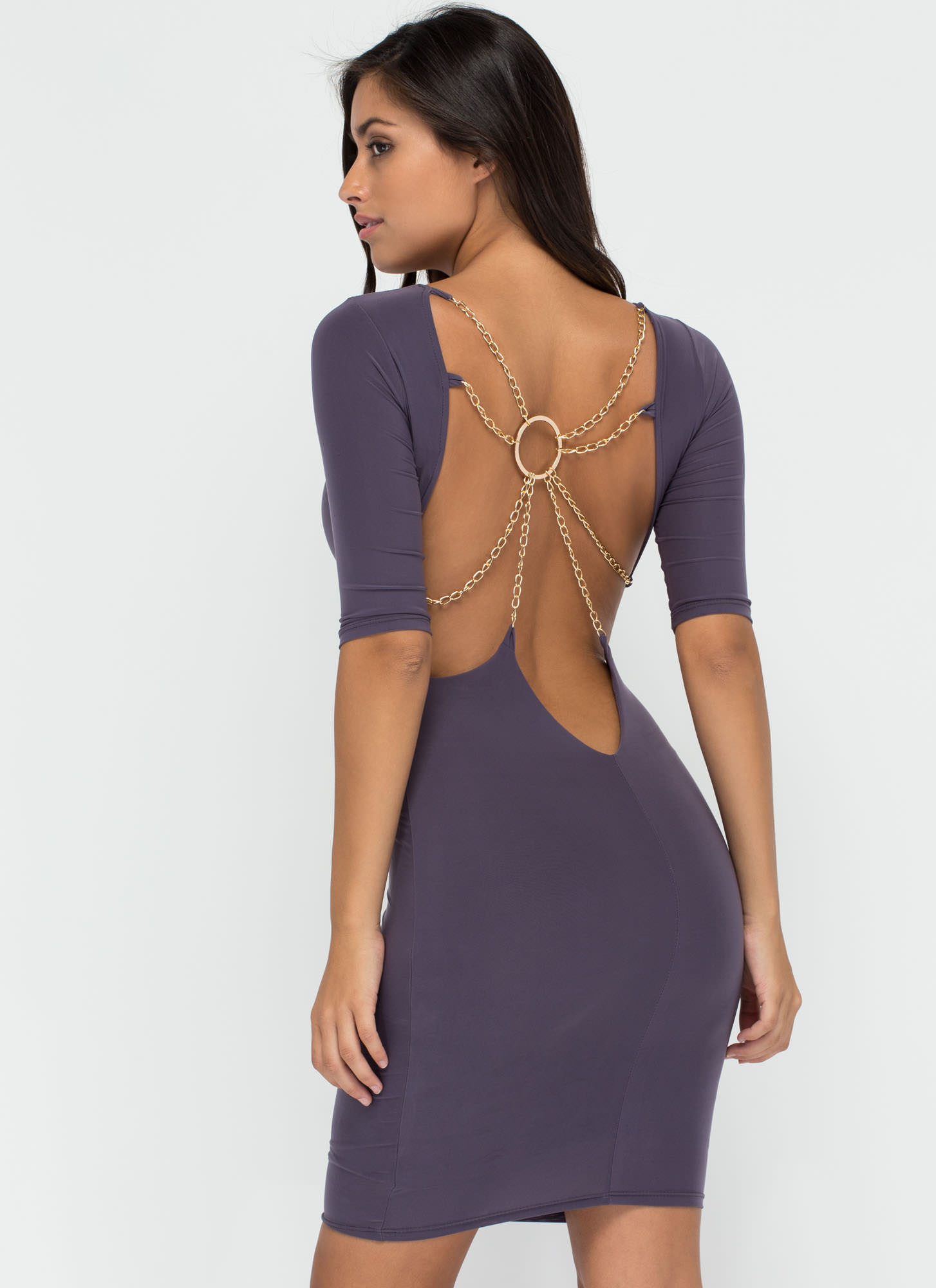Web Design Chained Open Back Dress GREY