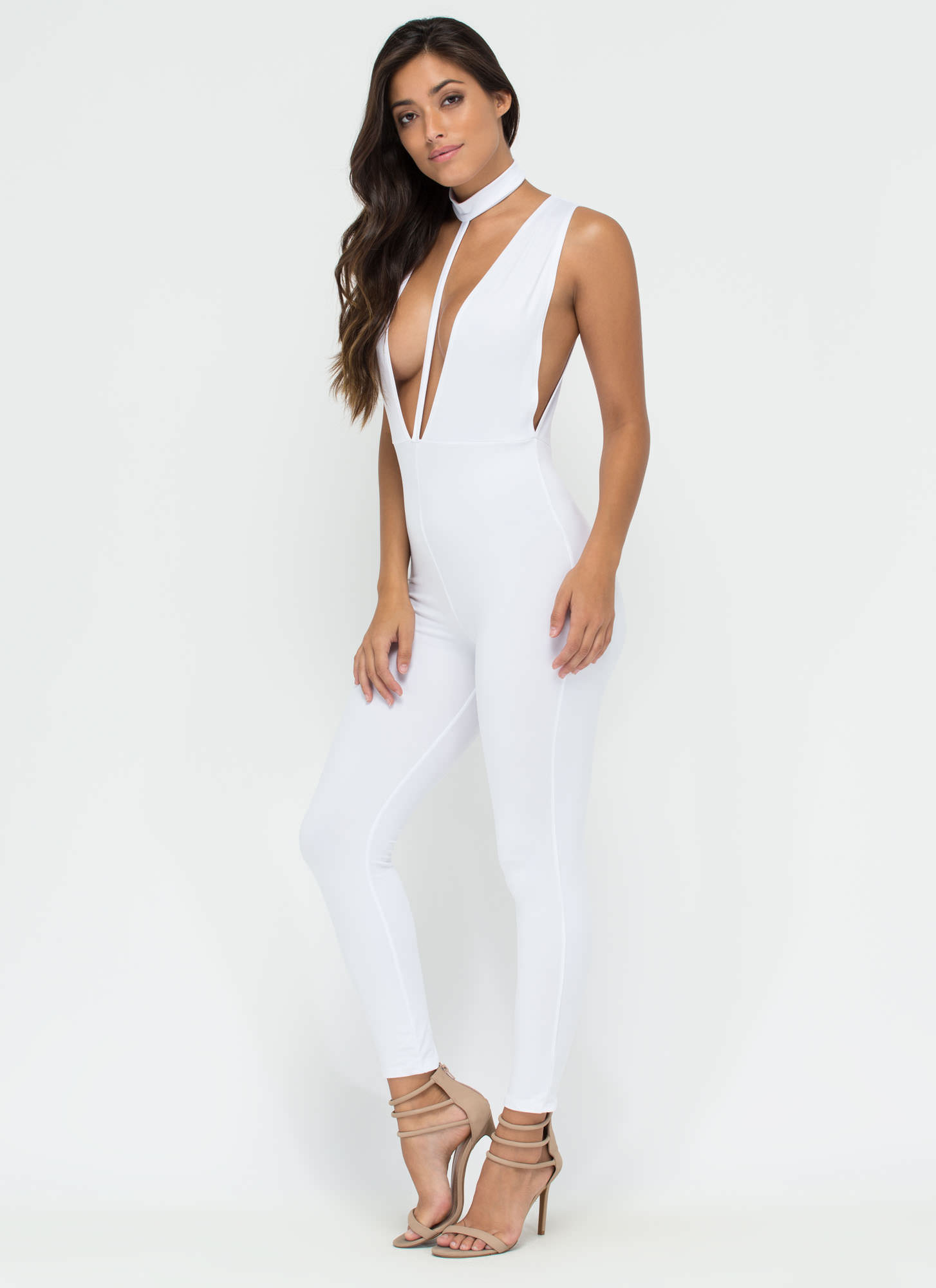 Lead The Way Choker T-Strap Jumpsuit WHITE