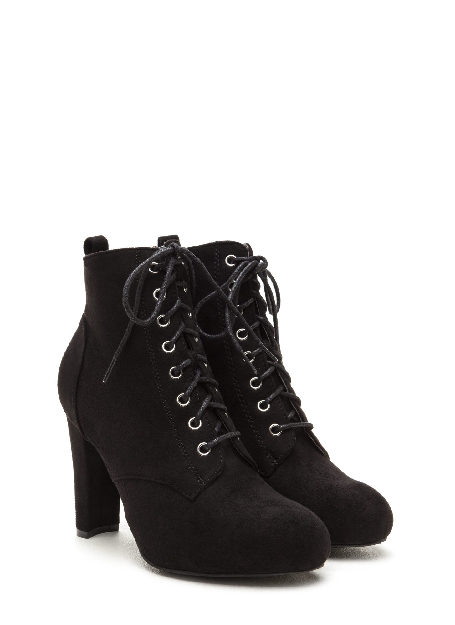 Work To Play Faux Suede Chunky Booties BLACK