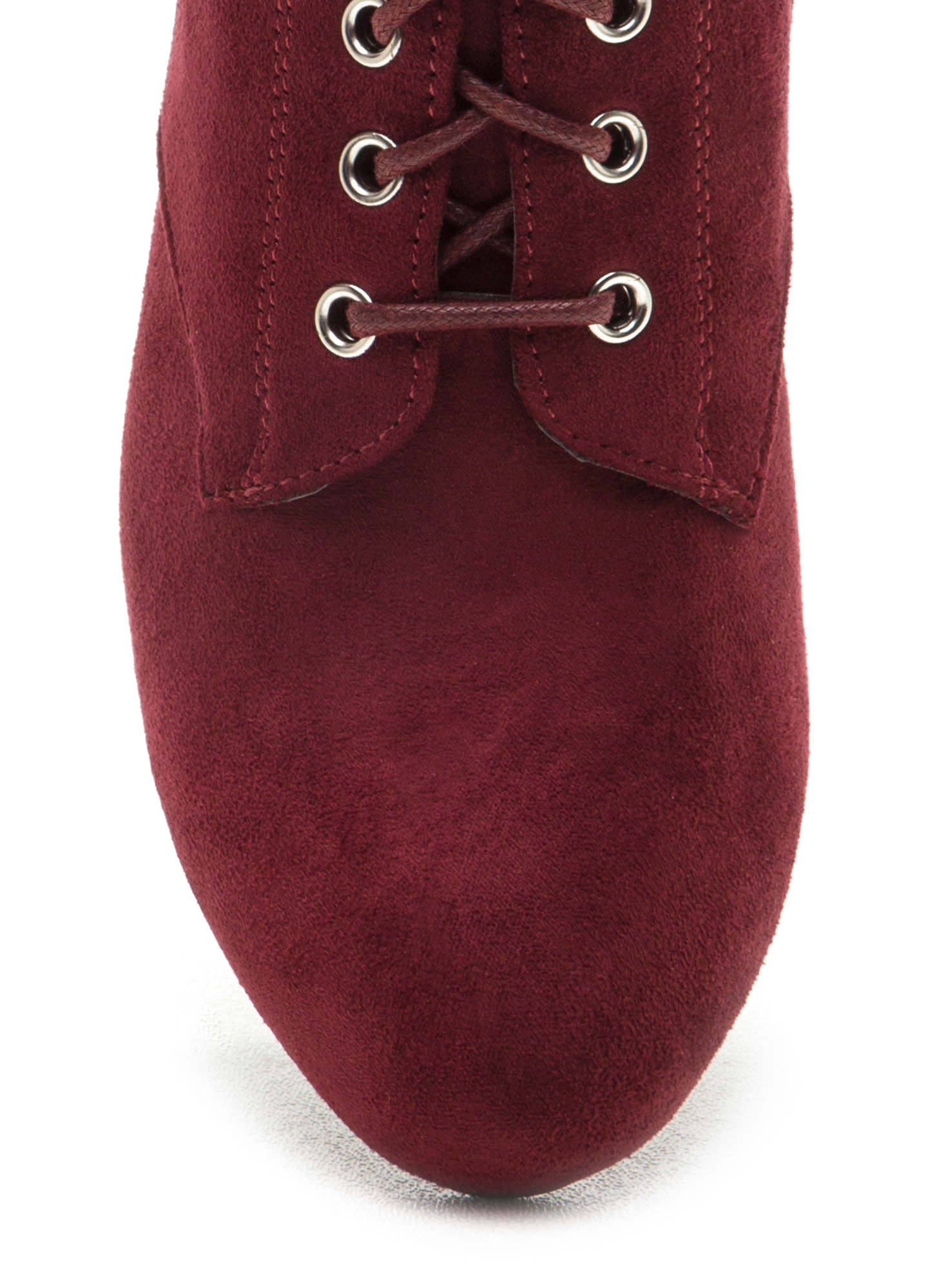 Work To Play Faux Suede Chunky Booties BURGUNDY