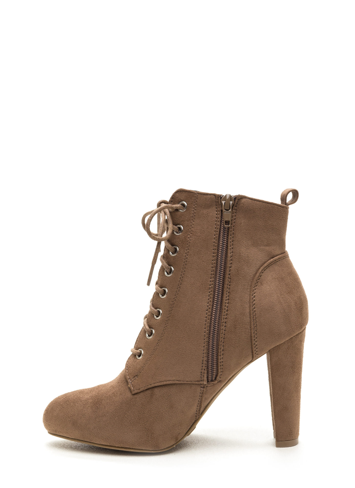 Work To Play Faux Suede Chunky Booties TAUPE
