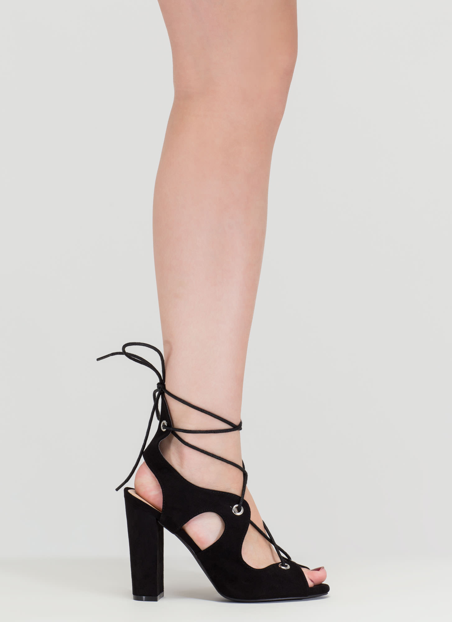 Riding Waves Chunky Lace-Up Heels BLACK
