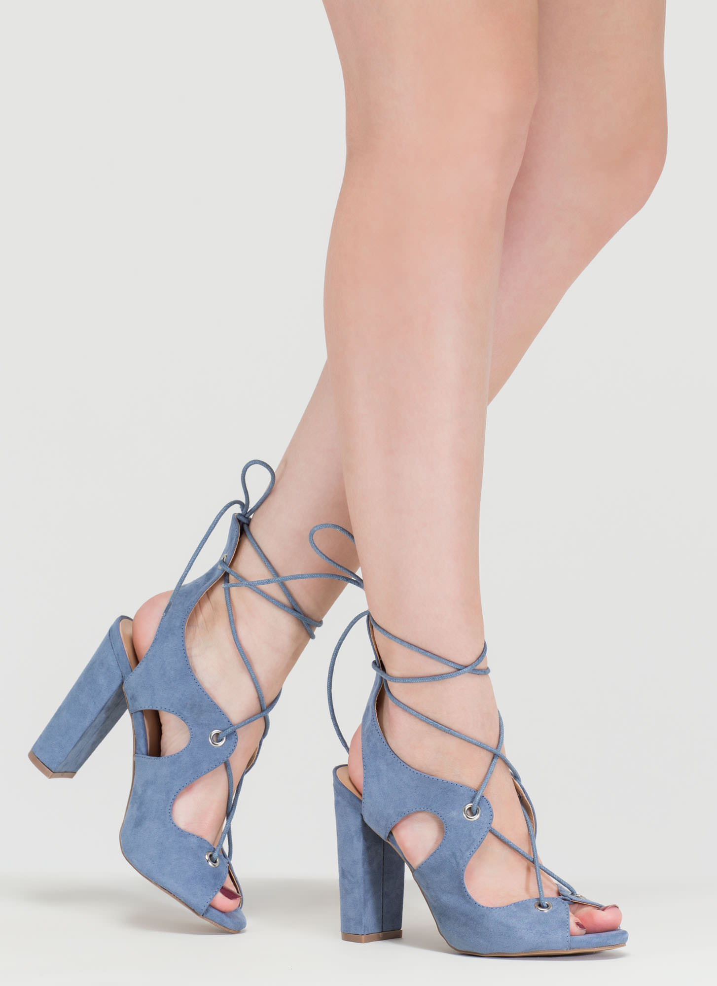 Riding Waves Chunky Lace-Up Heels BLUE