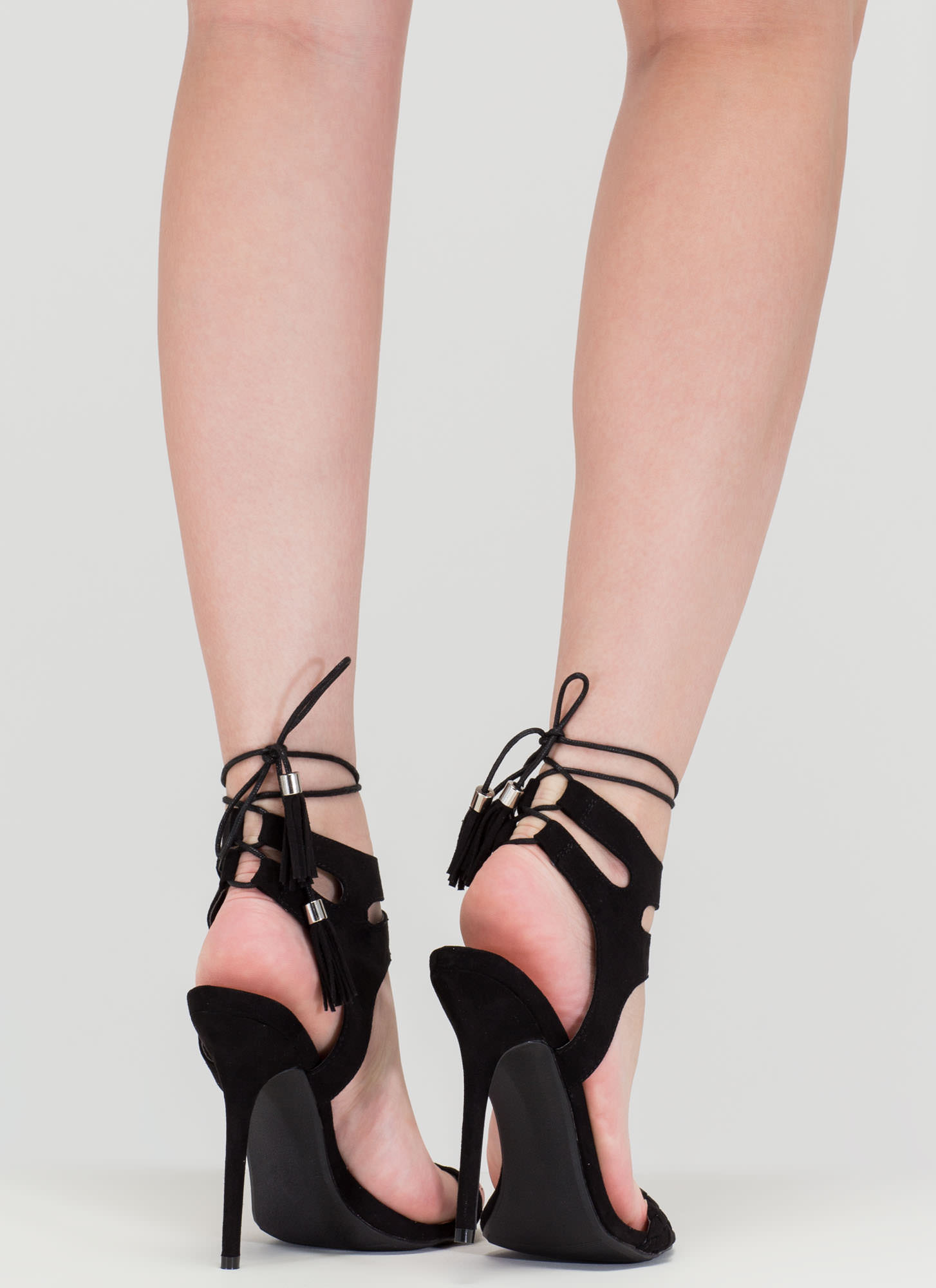 Detail Oriented Cut-Out Lace-Up Heels BLACK