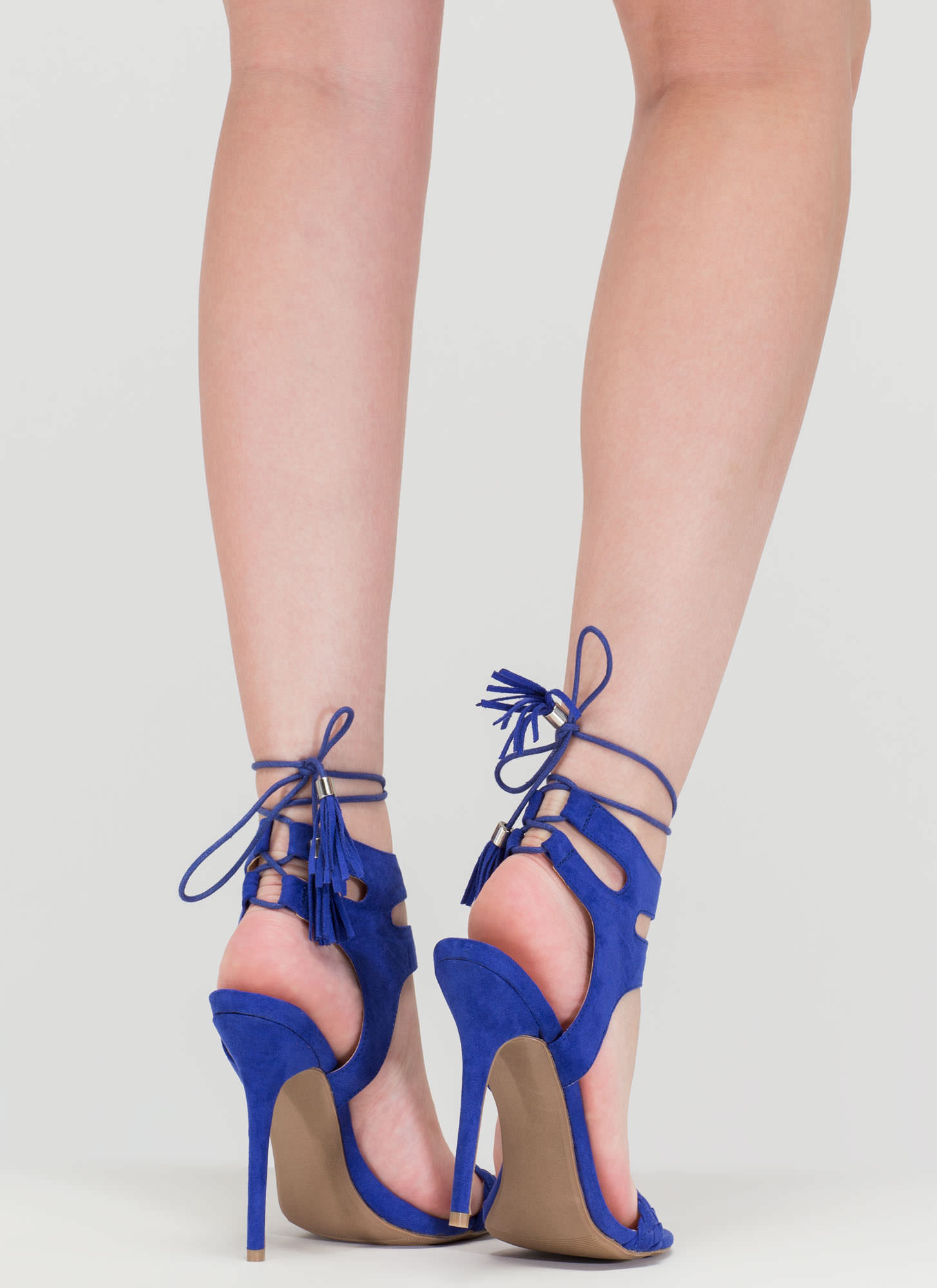 Detail Oriented Cut-Out Lace-Up Heels ROYAL